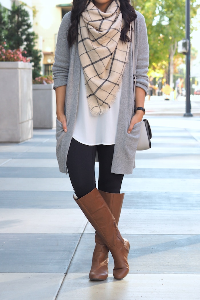 Plaid Scarf + Leggings + White Blouse + Grey Cardigan + Flat Boots