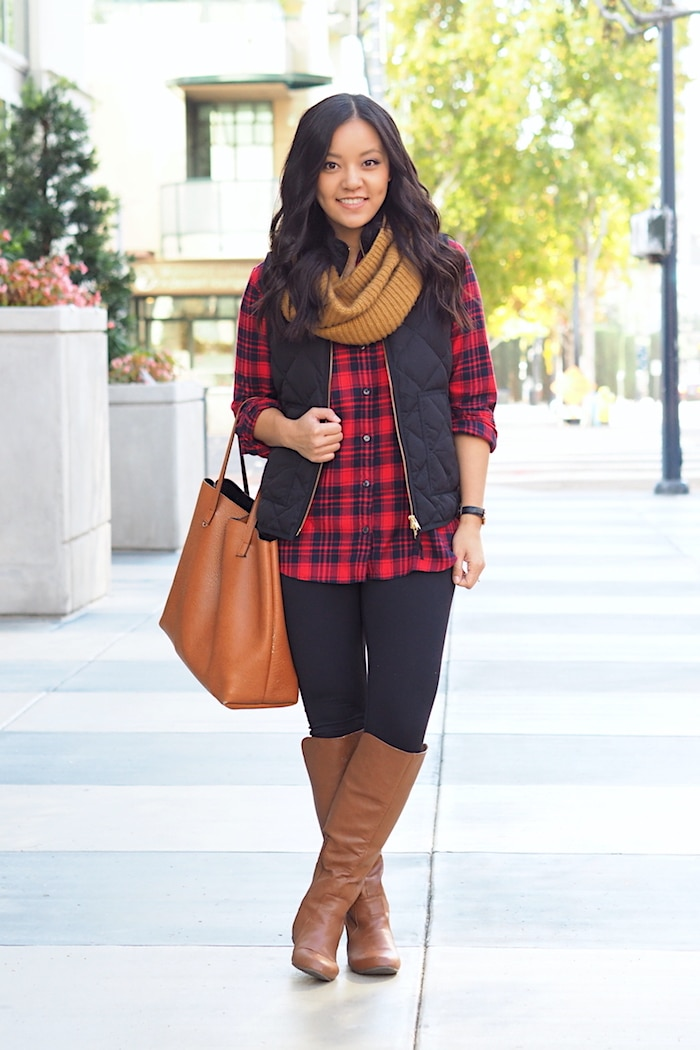 Plaid Shirt + Quilted vest + Leggings + Boots + Scarf + Cognac Tote