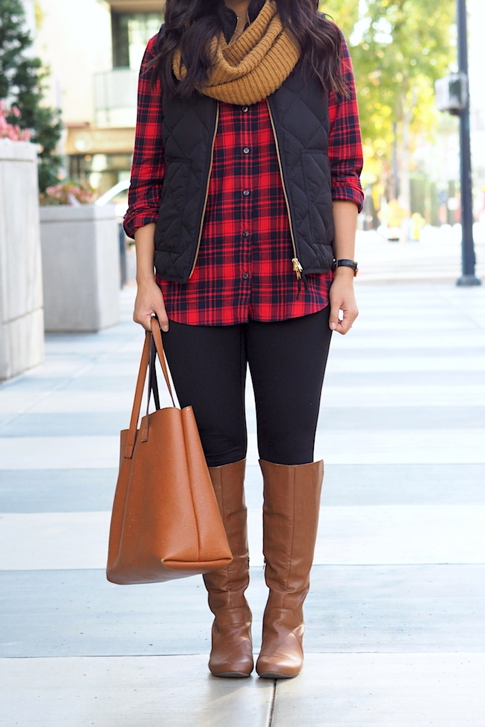 Quilted Vest + Flannel Shirt + Leggings + Boots + Cognac Tote + Scarf