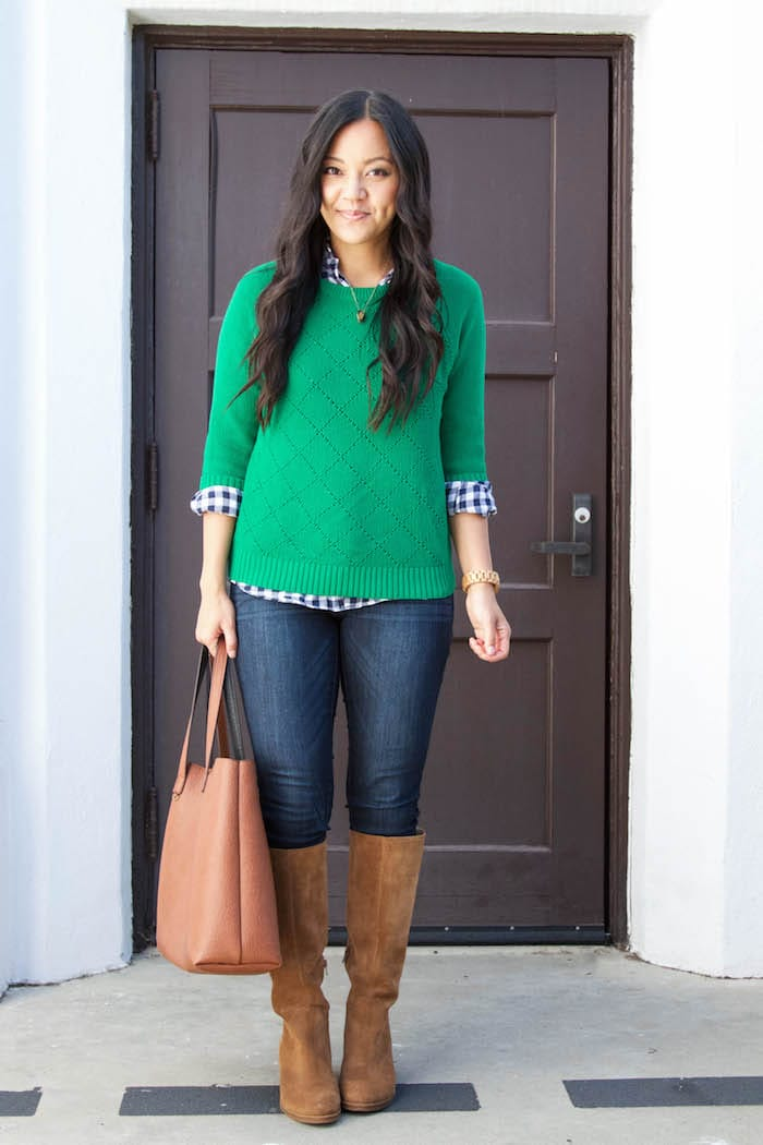 Green Sweater + Gingham Shirt + Skinnies + Riding Boots + Cognac Tote