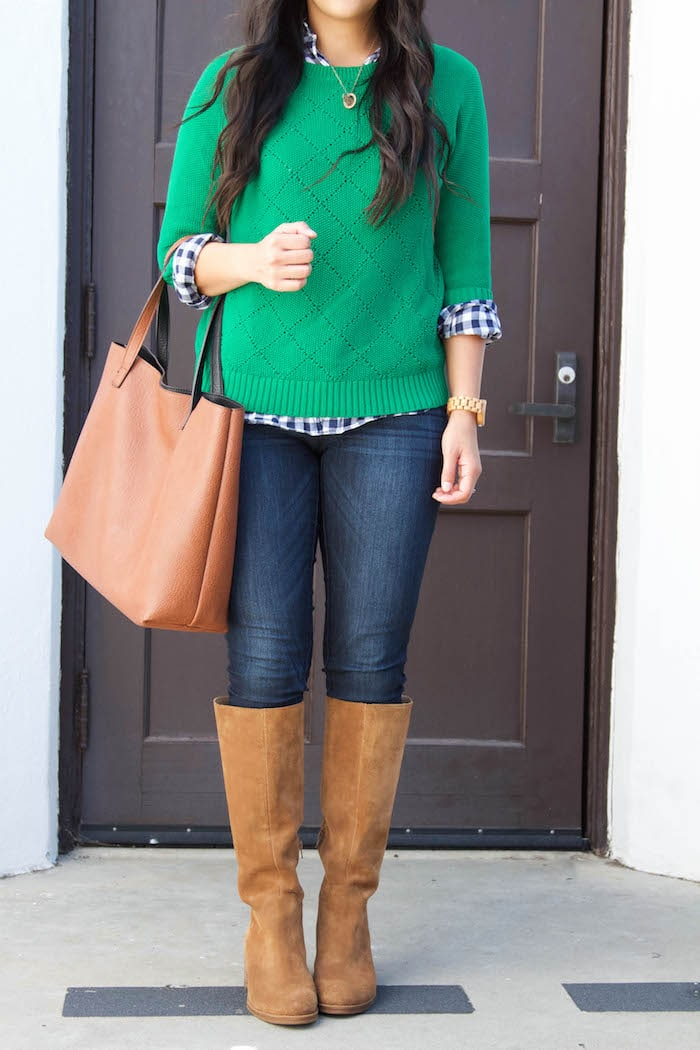 Gingham Shirt + Green Sweater + Skinnies + Riding Boots + Cognac Tote