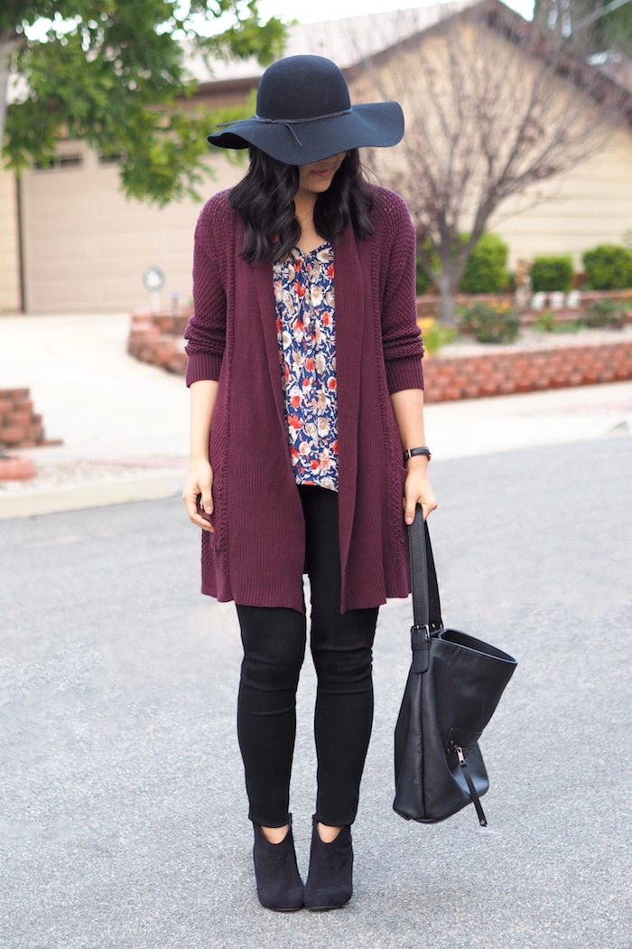 Maroon Cardigan + Black Jeans + Black Bag + Felt Hat + Printed Top