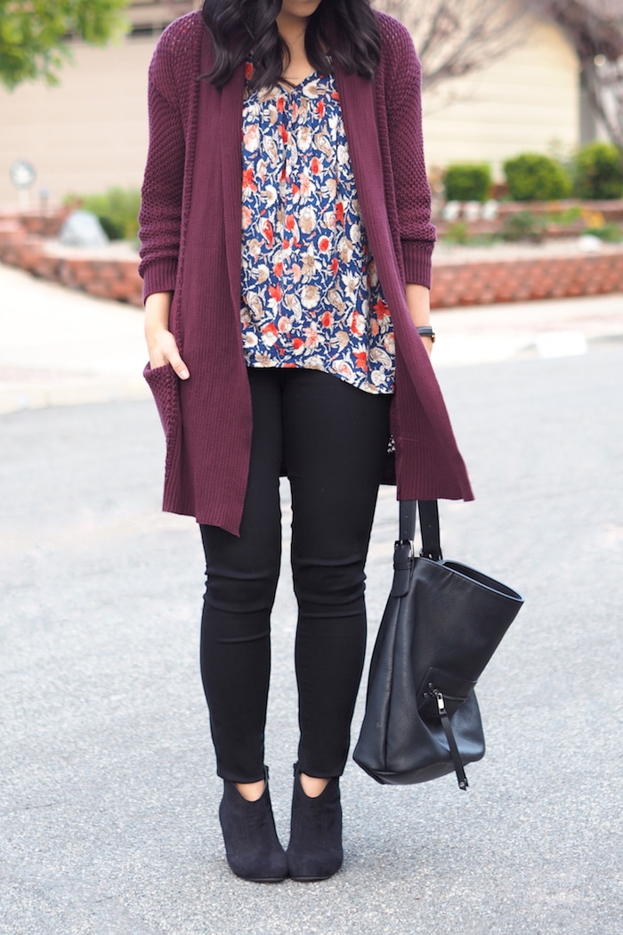 Black booties + Black jeans + Maroon Cardigan + Printed Blouse