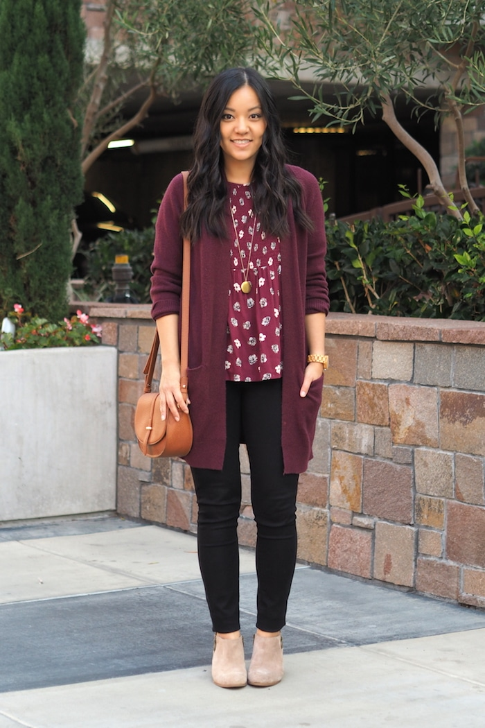 Maroon Cardigan + Printed Blouse + Black Jeans + Taupe Booties