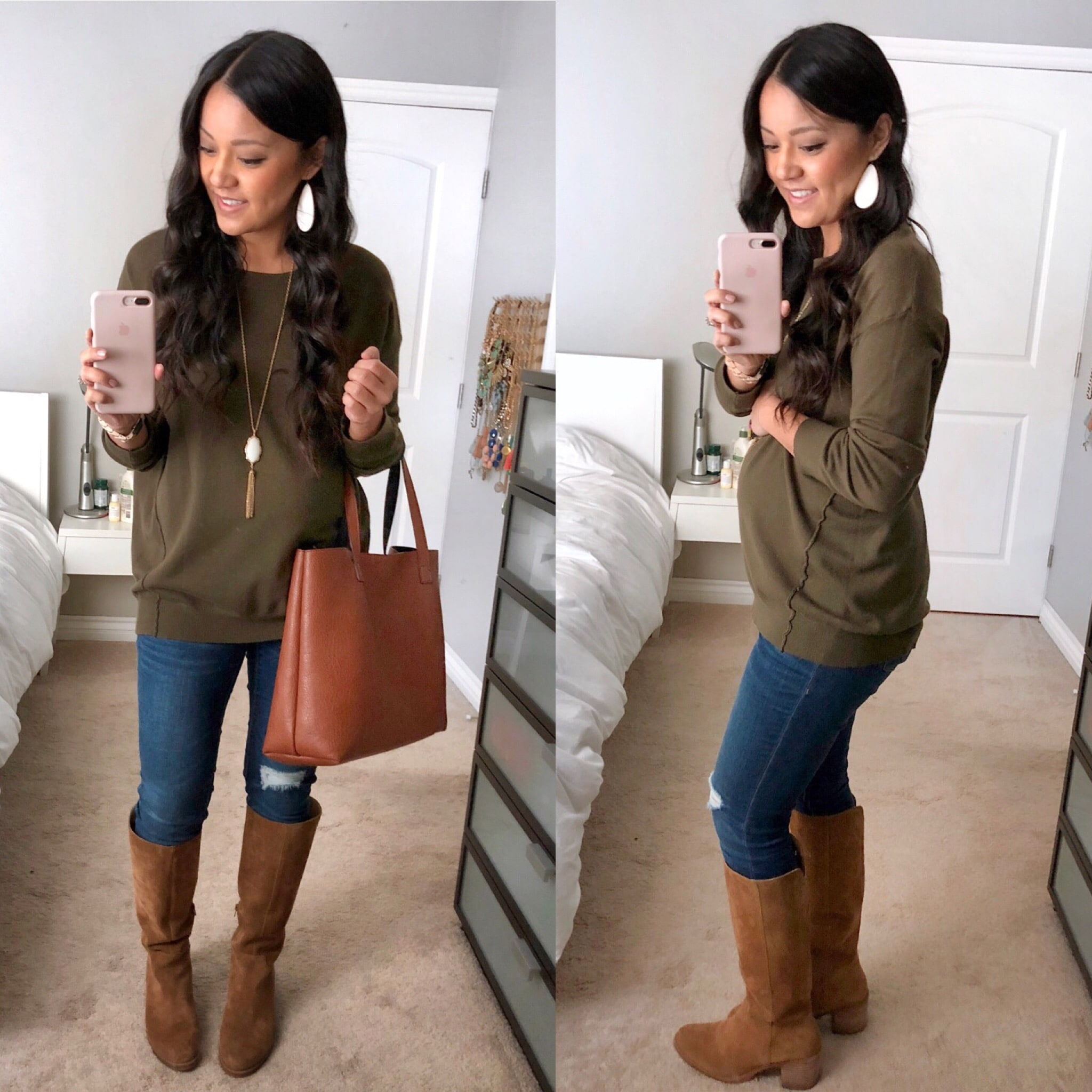 olive sweater + jeans + tan suede boots + white accessories