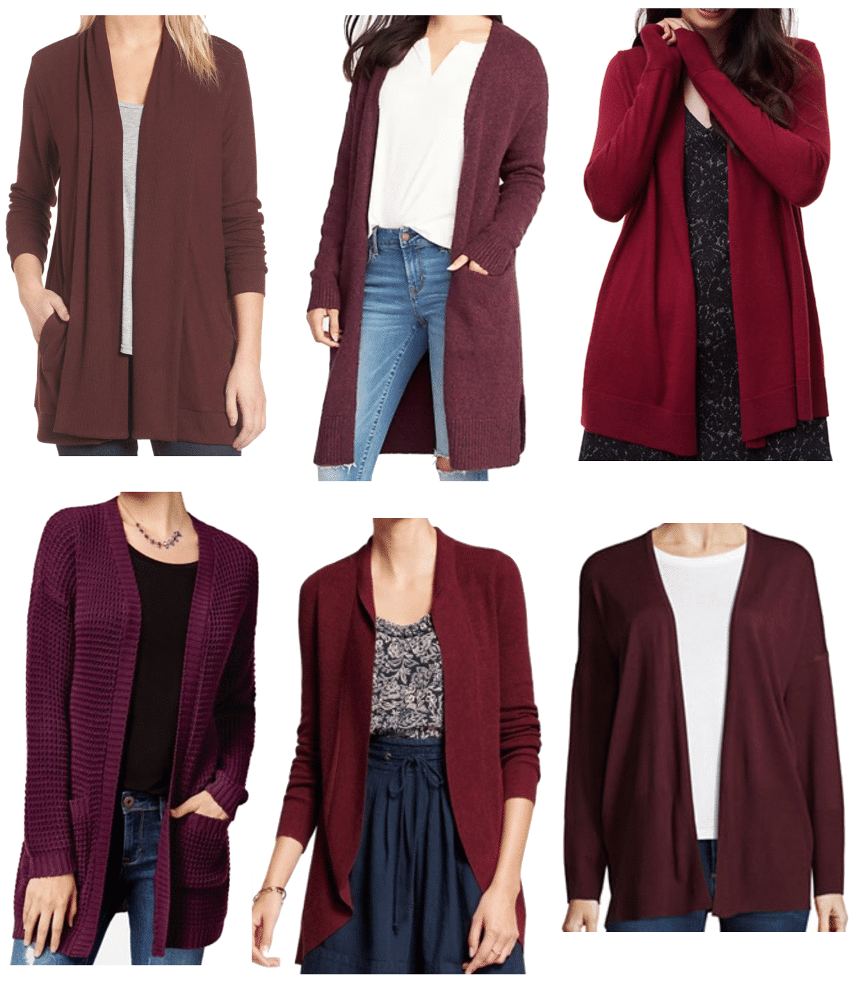Maroon Cardigan Options
