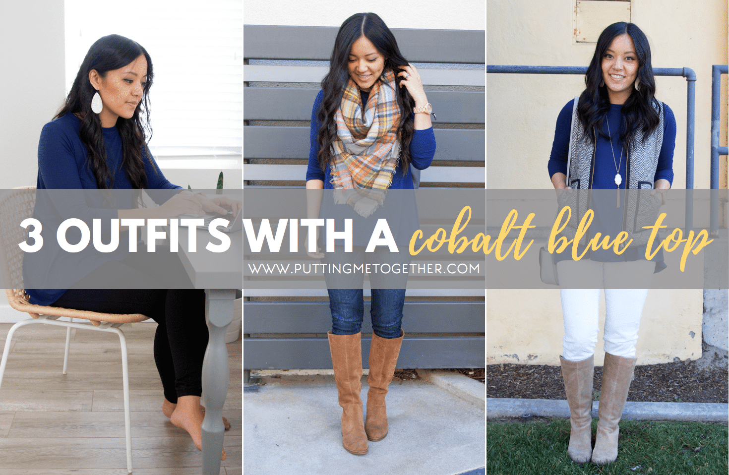 3 Outfits with a Cobalt Blue Top