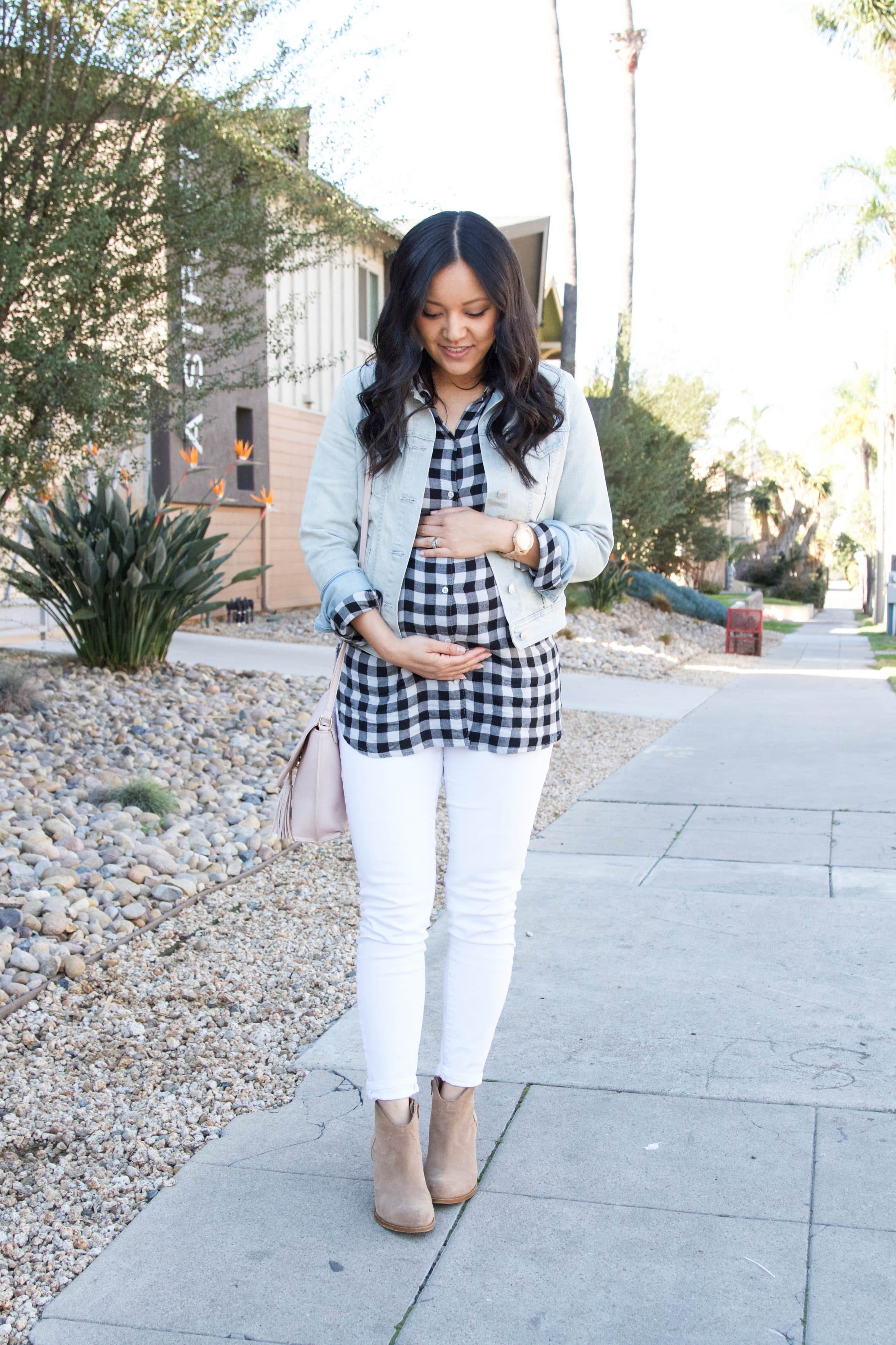 Jean Jacket + Gingham Shirt + Jord Watch + White Jeans + Taupe Booties