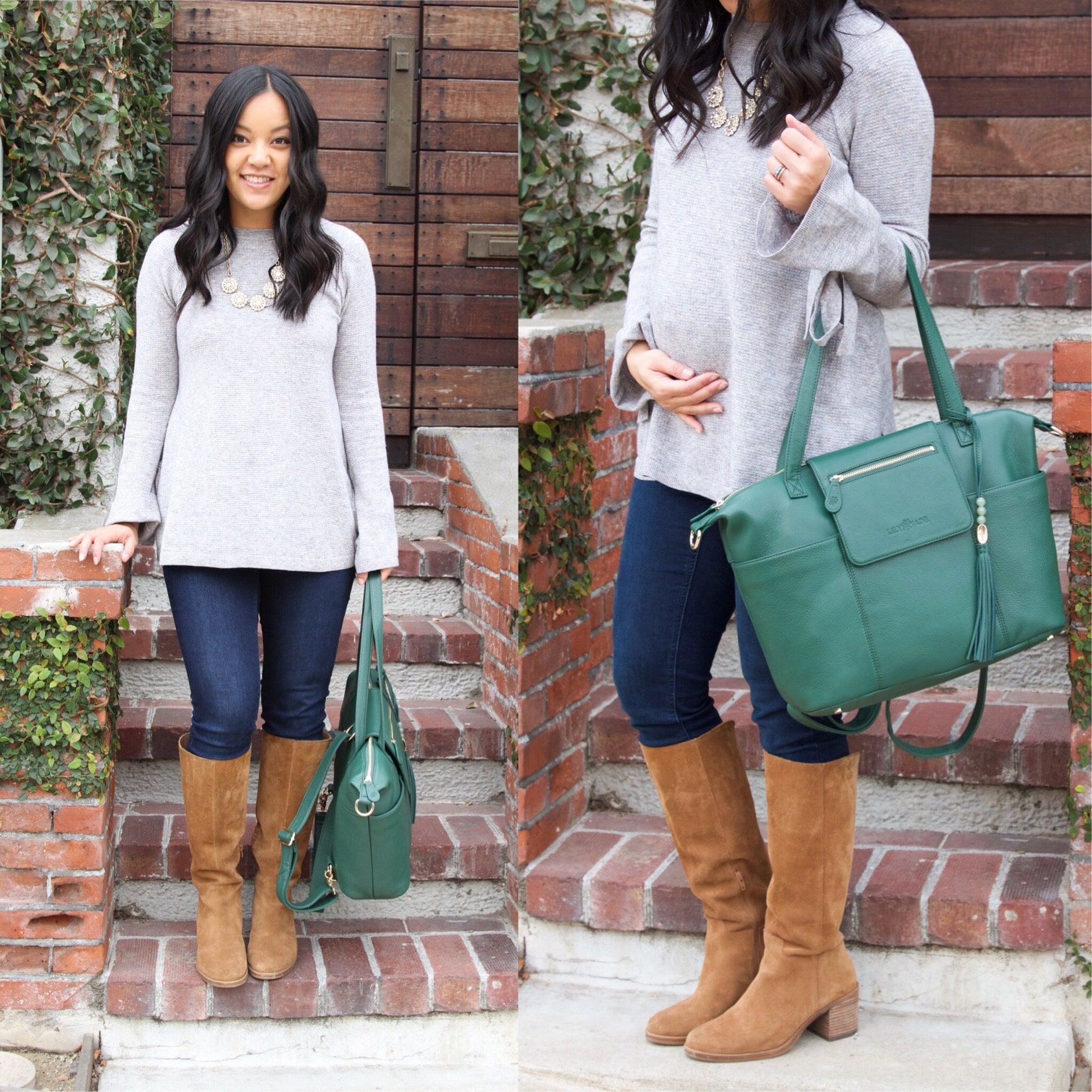 Grey Bell Sleeved Shirt + Boots + Lily Jade Bag + Skinny jeans