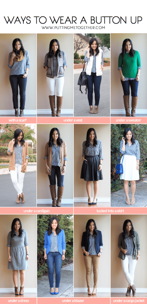 Ways to wear a gingham button up in winter