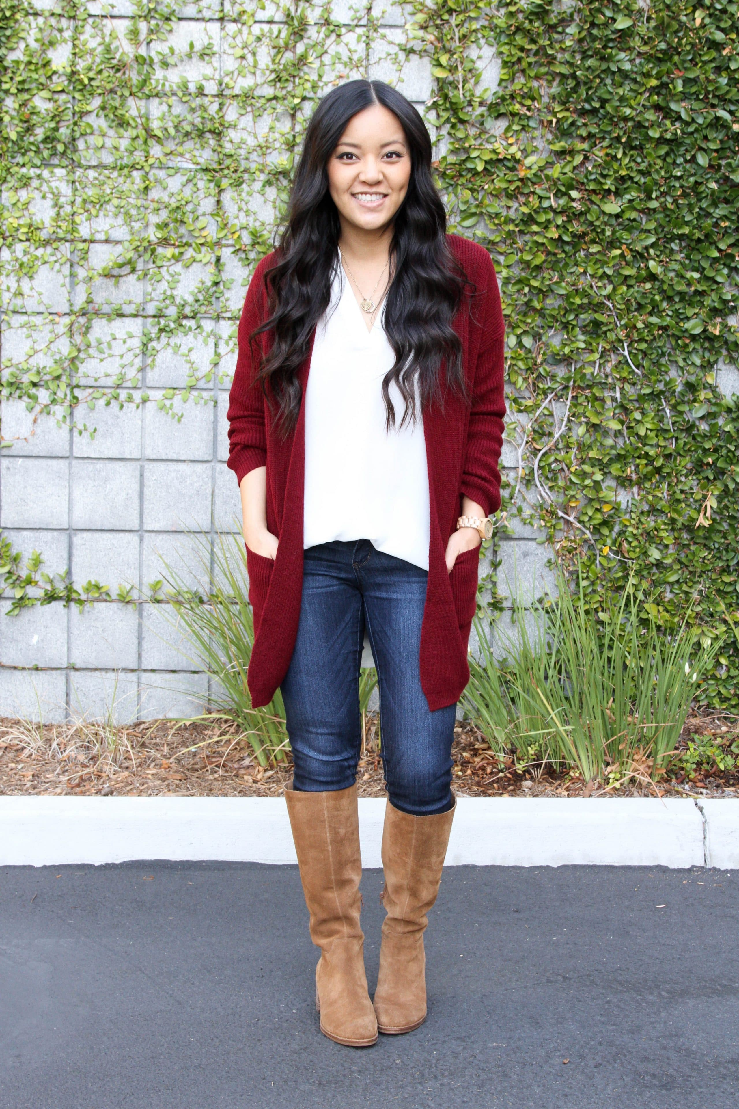 white top maroon cardigan tan suede boots outfit 01