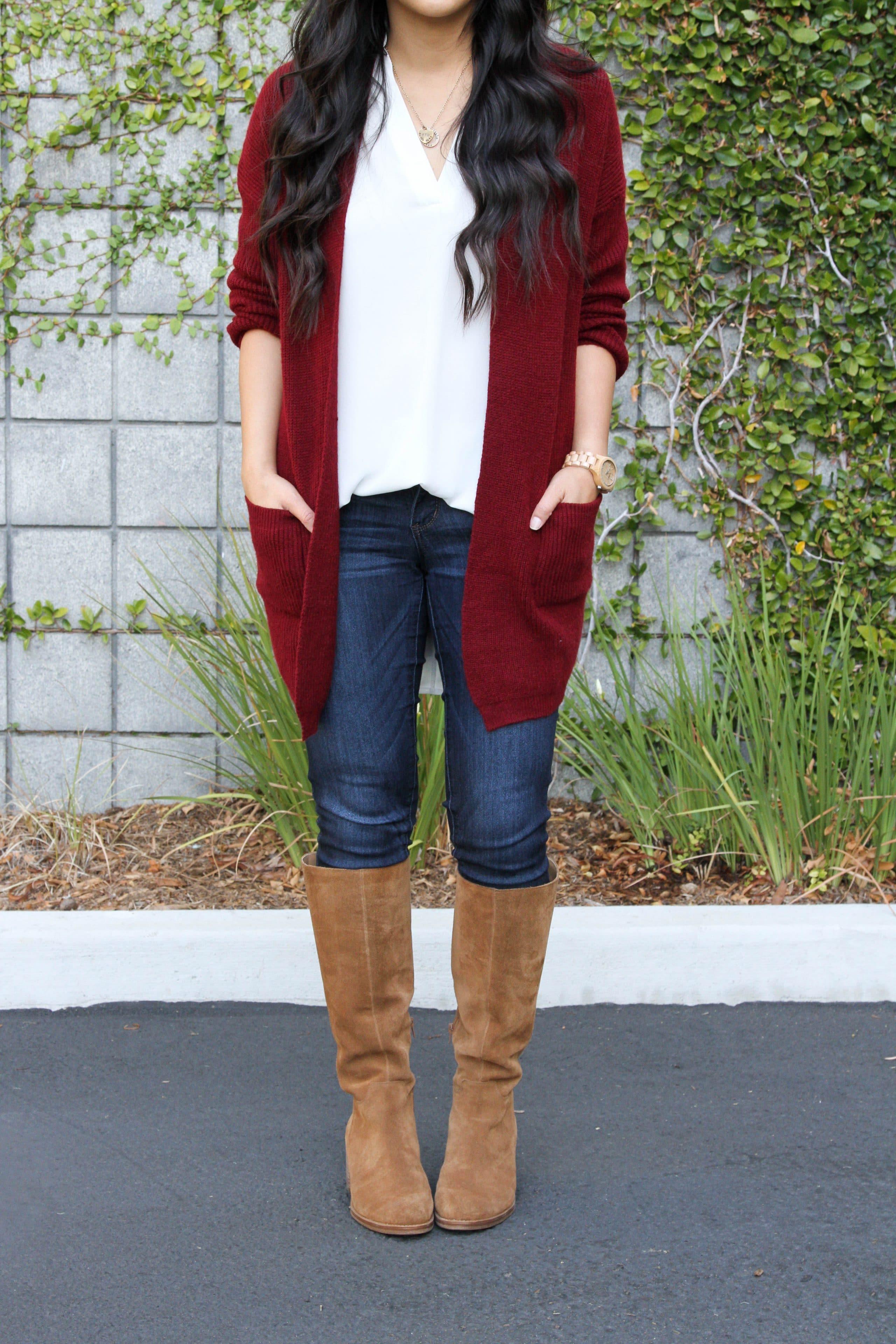 Skinnies + Lush tunic + Maroon Cardigan + Boots