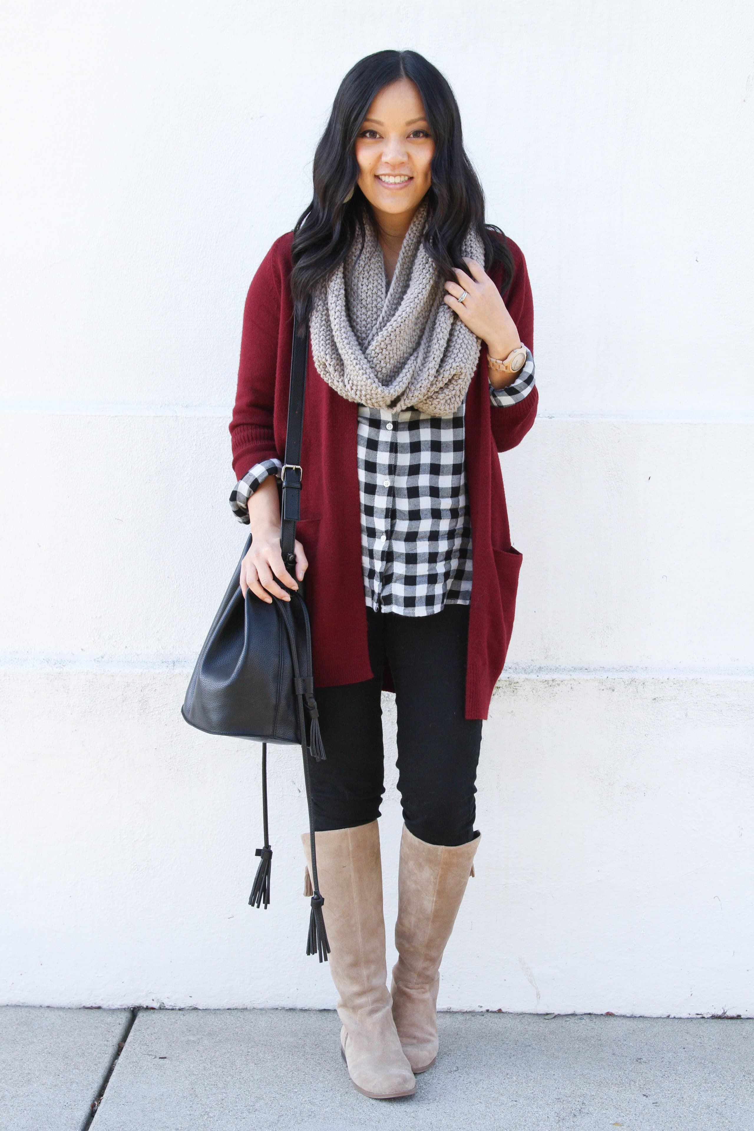 0a1a9192be Maroon Cardigan +Gingham Shirt + Boots + Scarf + Bucket Bag ...