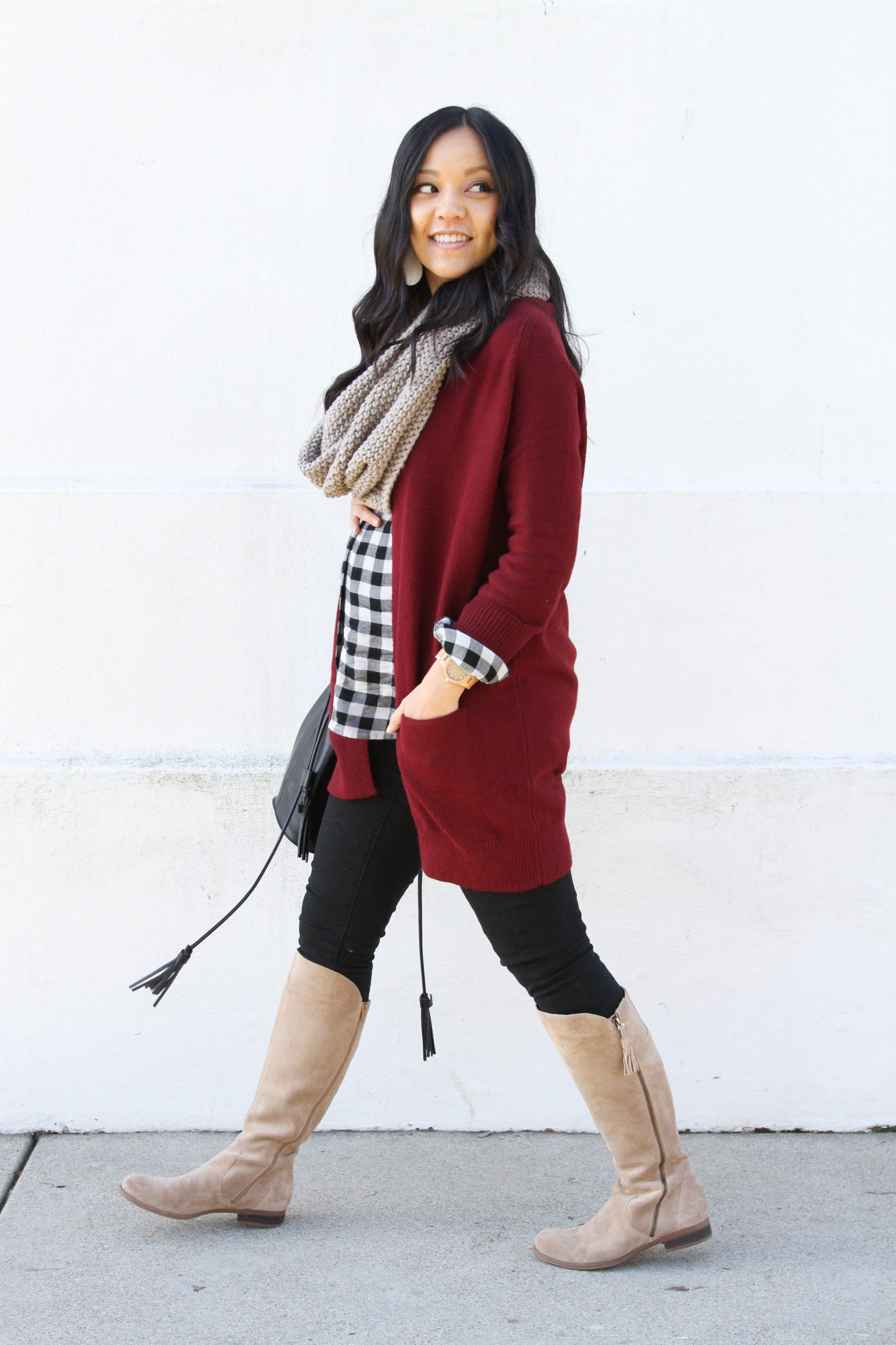 d068bb683b ... Tan Scarf +Maroon Cardigan + Boots + Black Jeans + Gingham Top