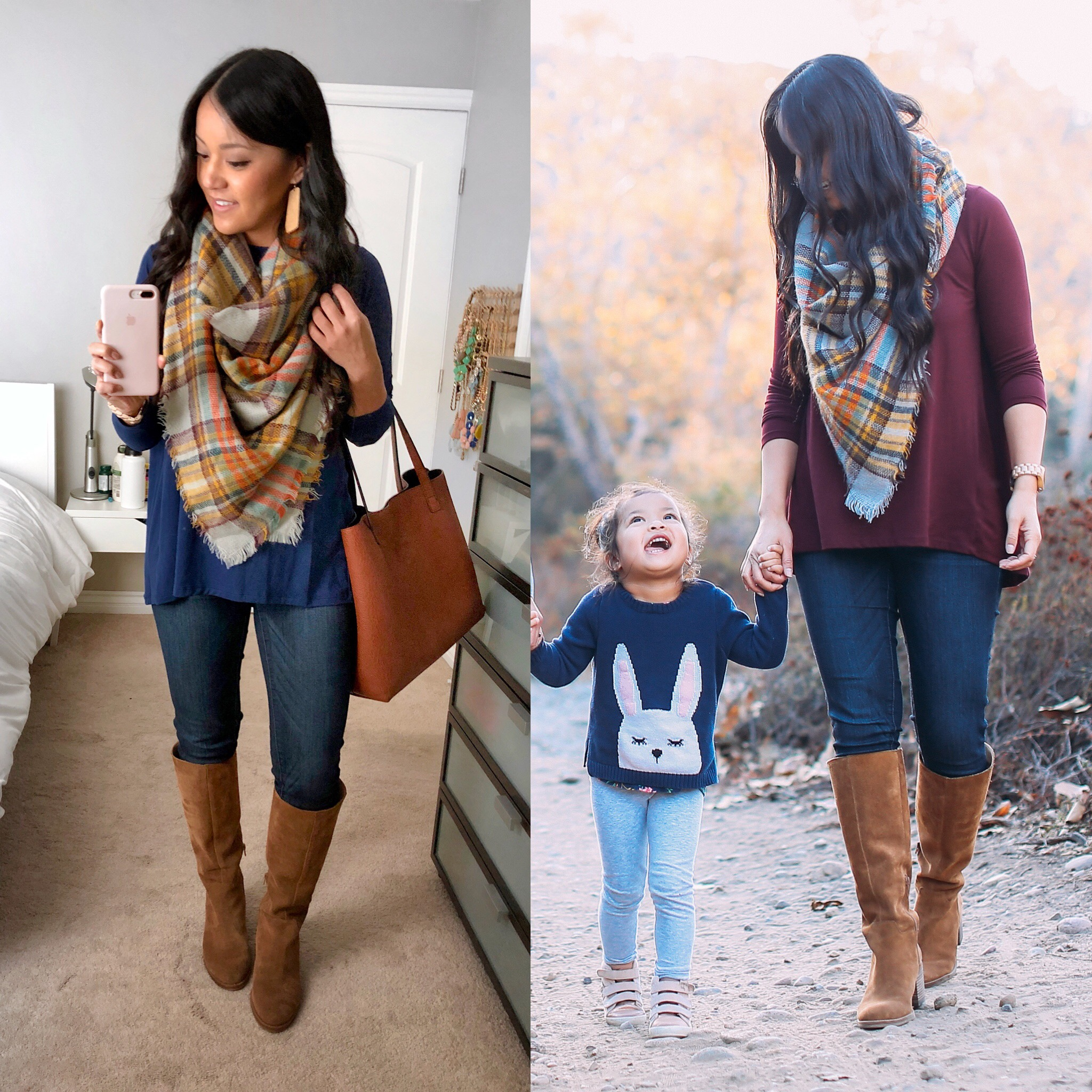 butter top + orange plaid blanket scarf + tan suede boots