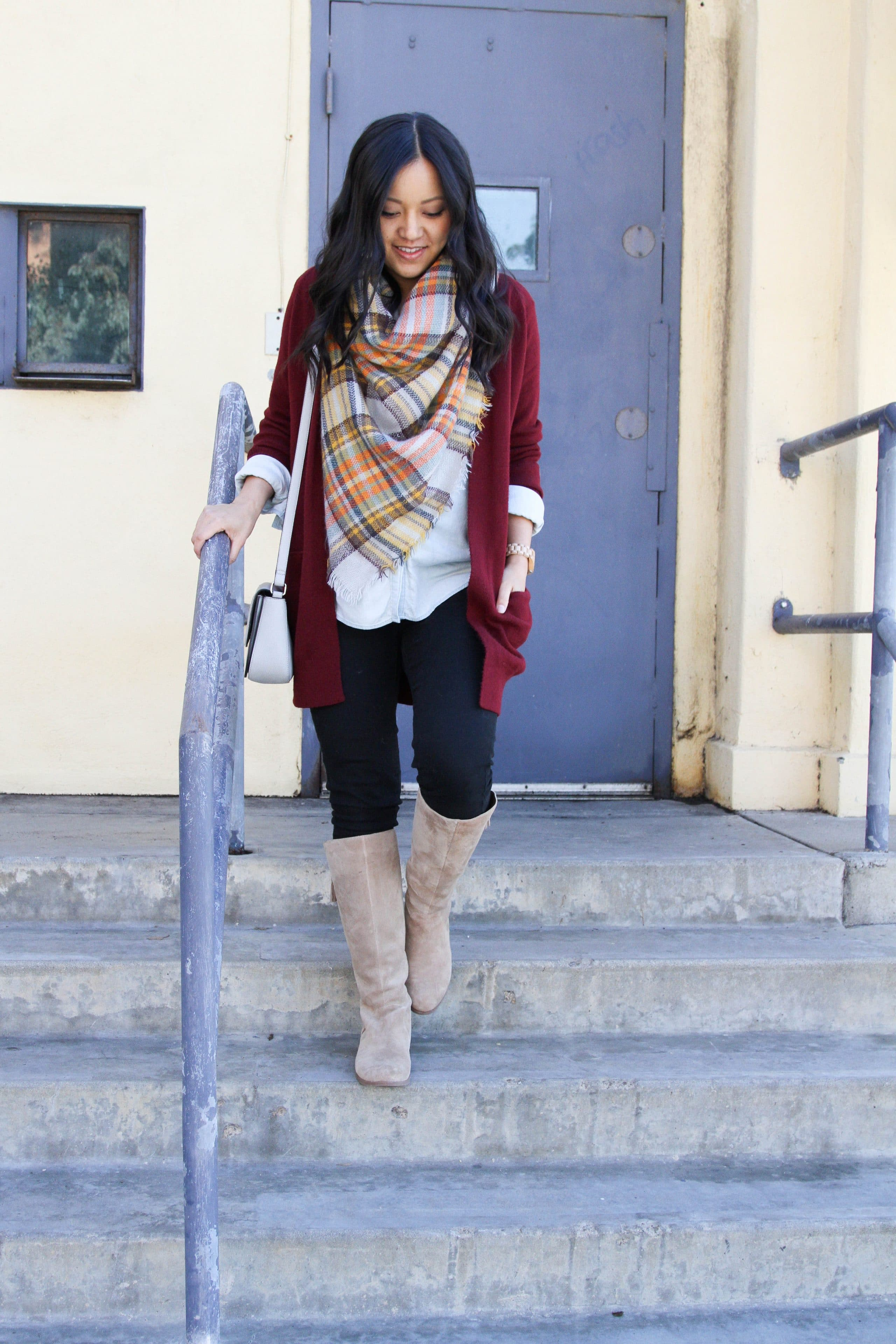 Blanket scarf + maroon cardigan + white blouse + skinnies + boots