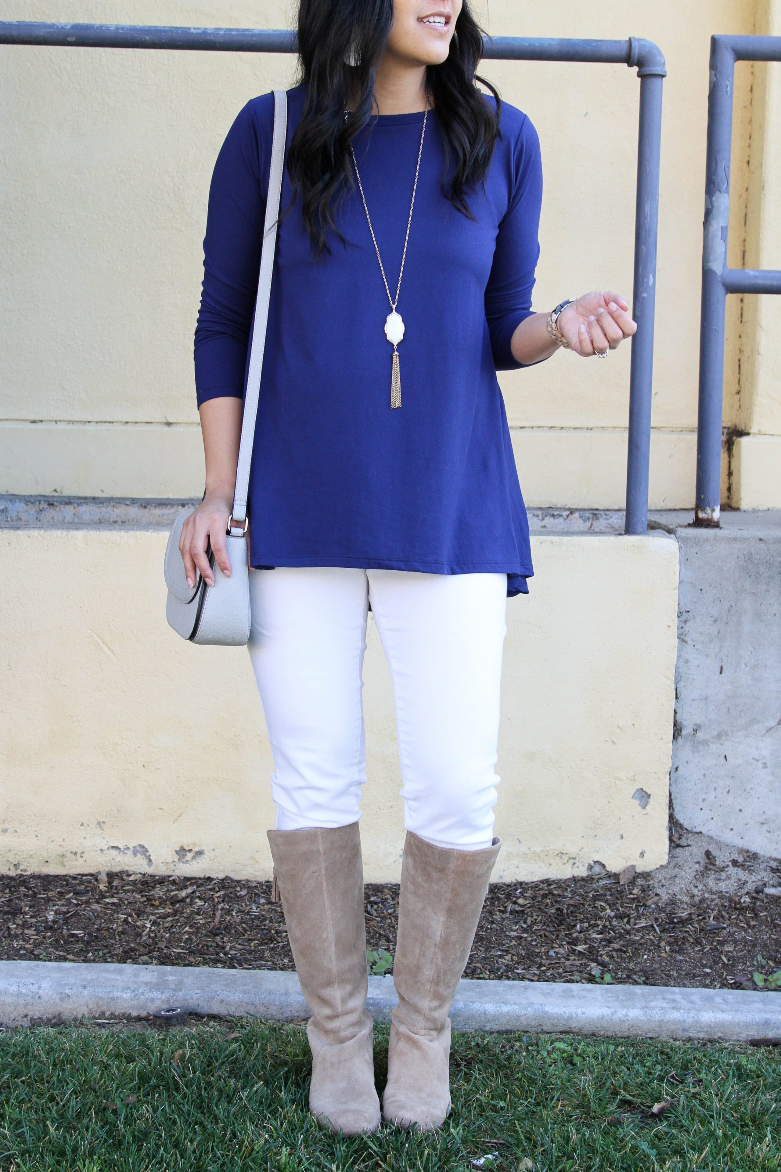 Blue butter tee + White skinnies + Pendant Necklace + Boots