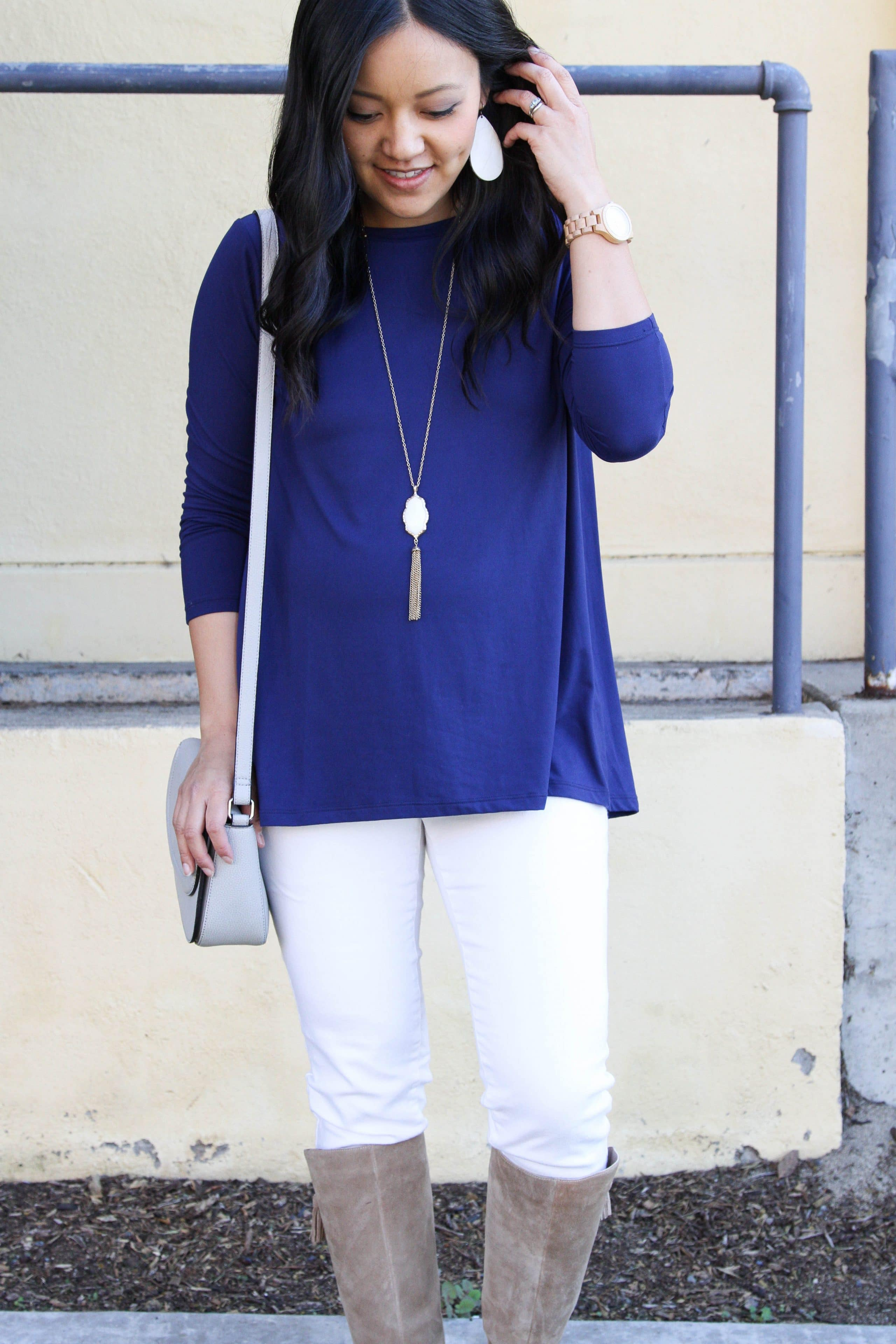 Blue Butter Tee + White Jeans + Boots + Shoulder Bag