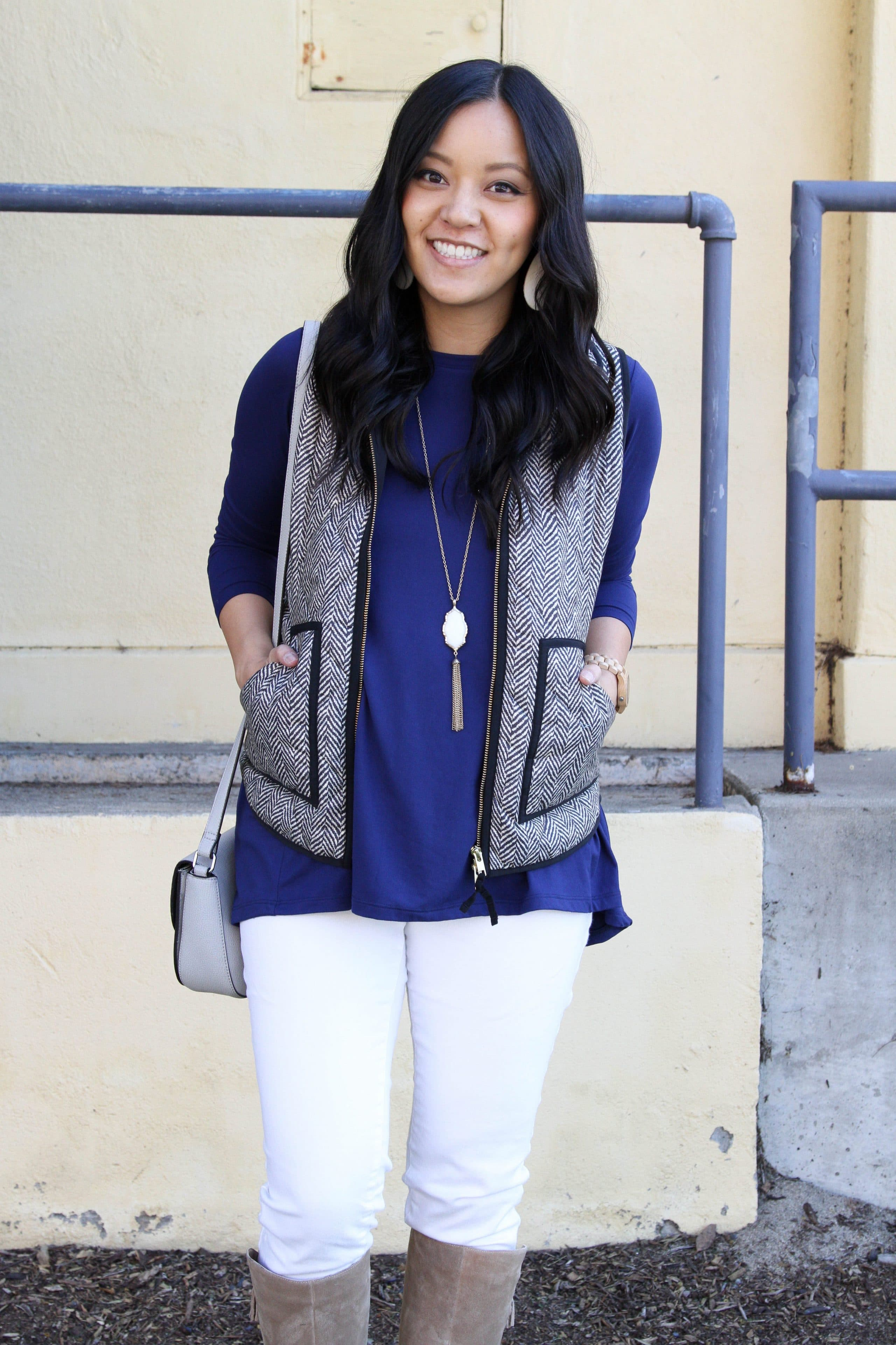 Grey Vest + Blue Butter Tee + White Jeans + Boots + Pendant Necklace