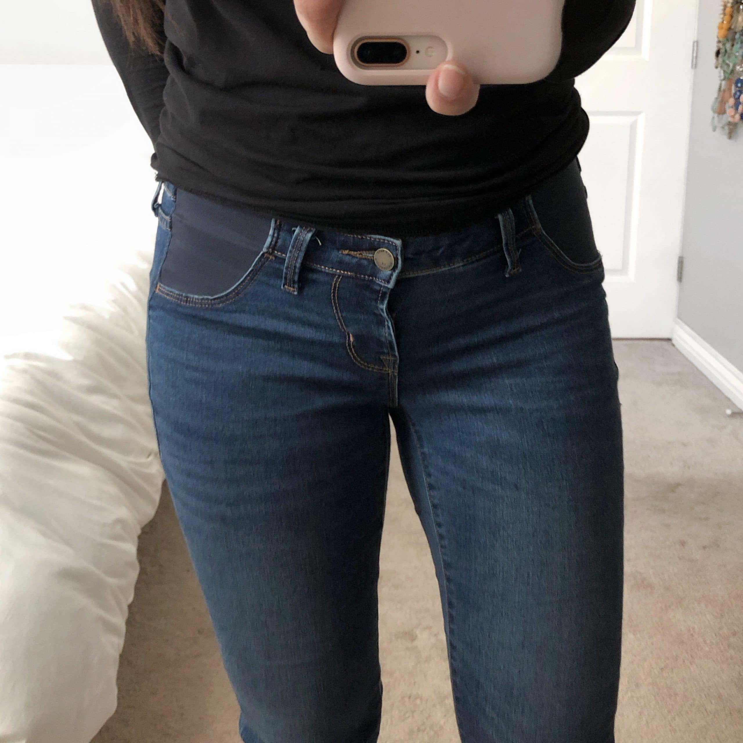 68881e4570c Maternity Jeans Distressed + Black Tee Maternity Skinnies + Black Top