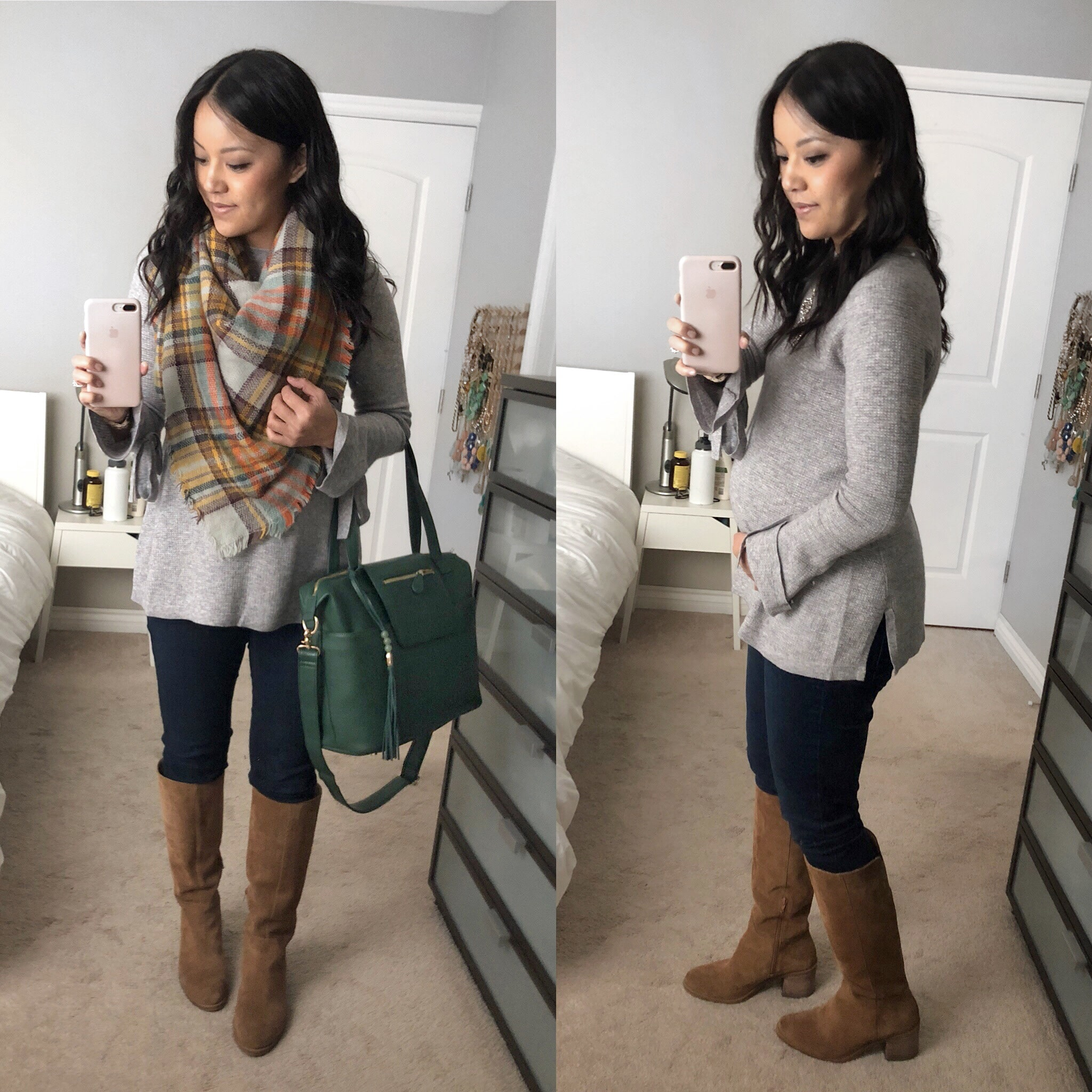 Grey Bell Sleeved Shirt + Blanket Scarf + Skinnies + Boots