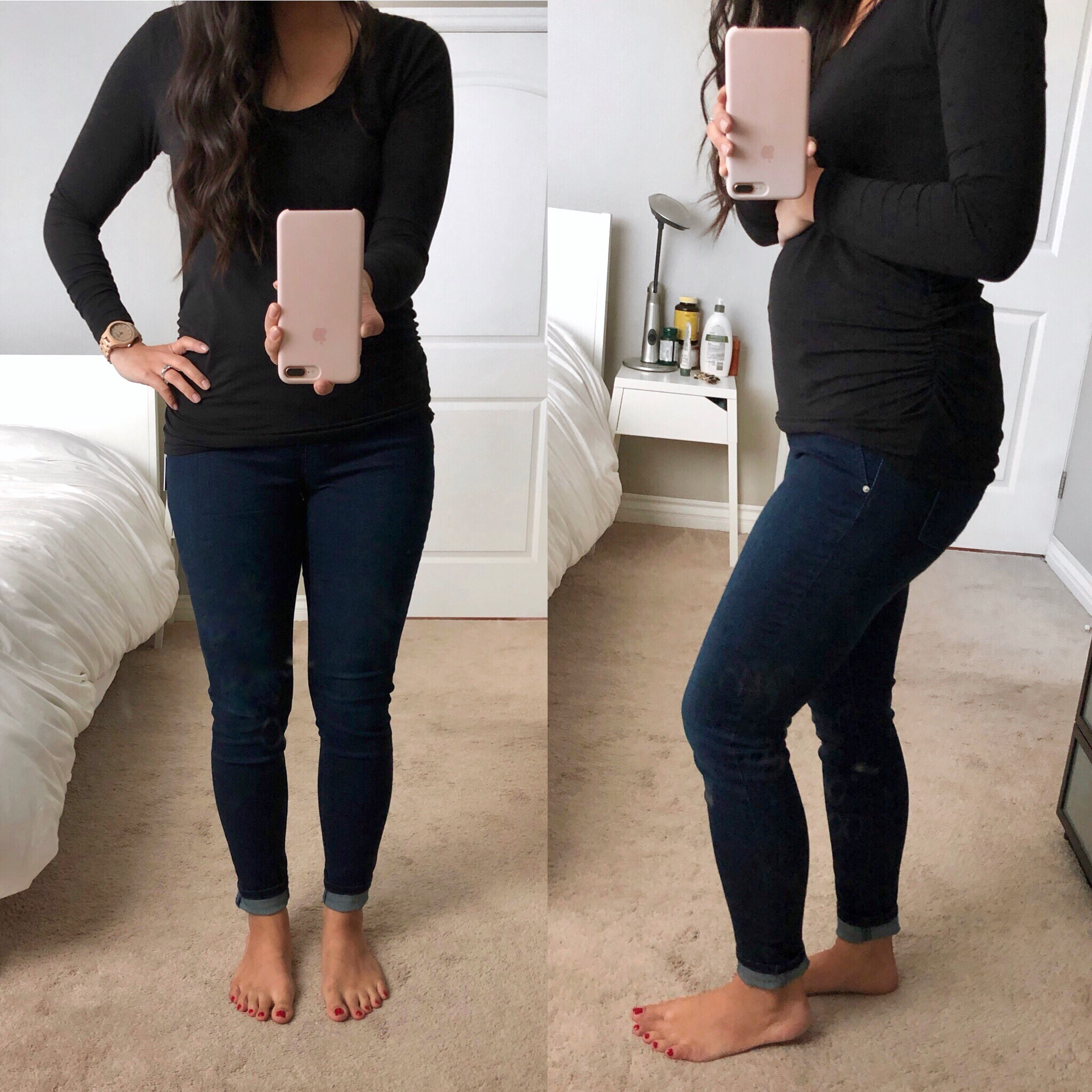 4af93e68031 Maternity Skinnies + Black Tee Dark Wash Maternity Skinny Jeans. Jessica  Simpson ...