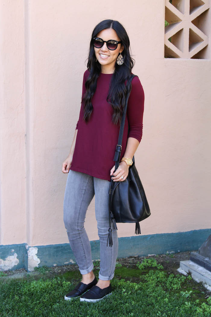Maroon Top + Grey Jeans + Black Slip ons + Black Bag