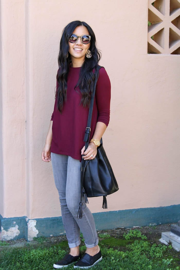 Black Bag + Maroon Top + Grey Pants + Black Slip ons