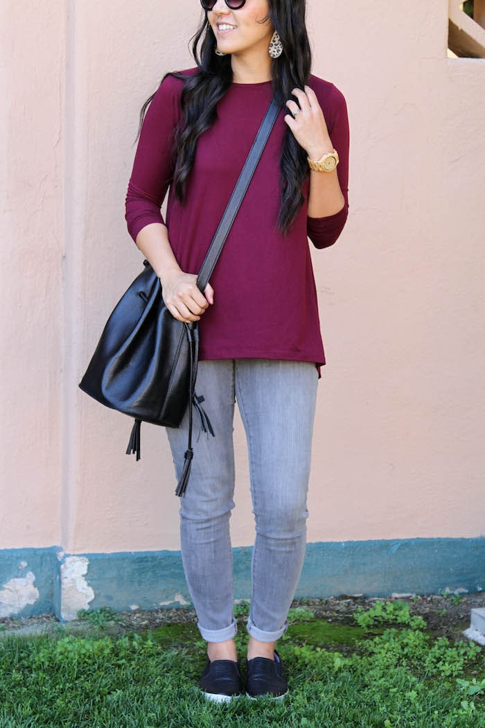 Maroon Top + Black Bag + Black slip ons + Grey Pants