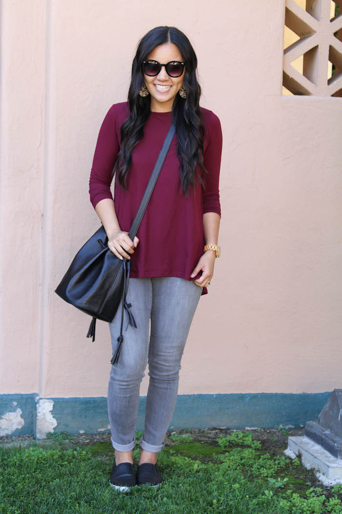 Maroon Top + Grey Skinnies + Black Bag + Sunnies + Black Slip ons