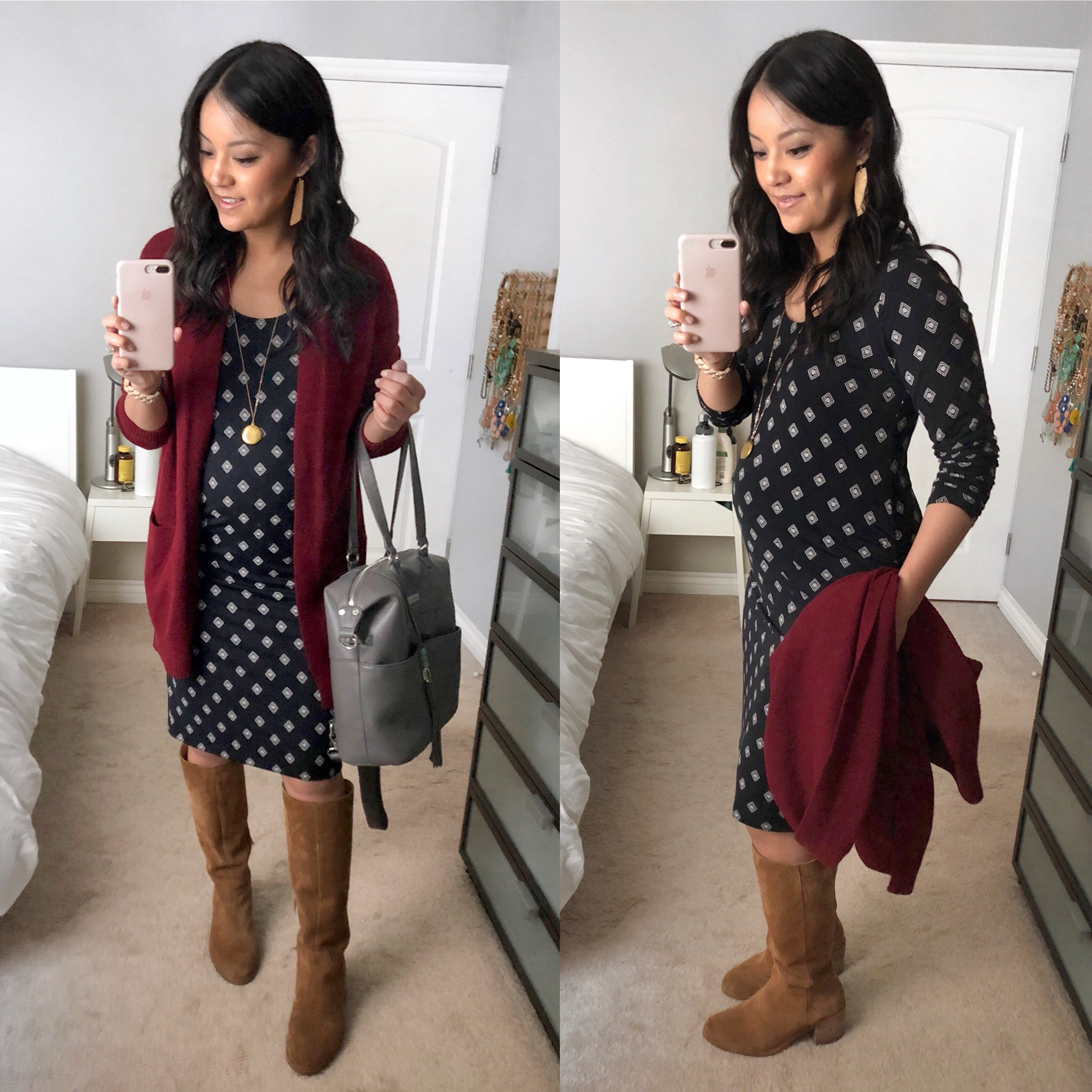 f57dd33966a464 Printed Maternity Dress + Statement Earrings Maroon Cardigan + Printed Dress  + Lily Jade Bag + Boots