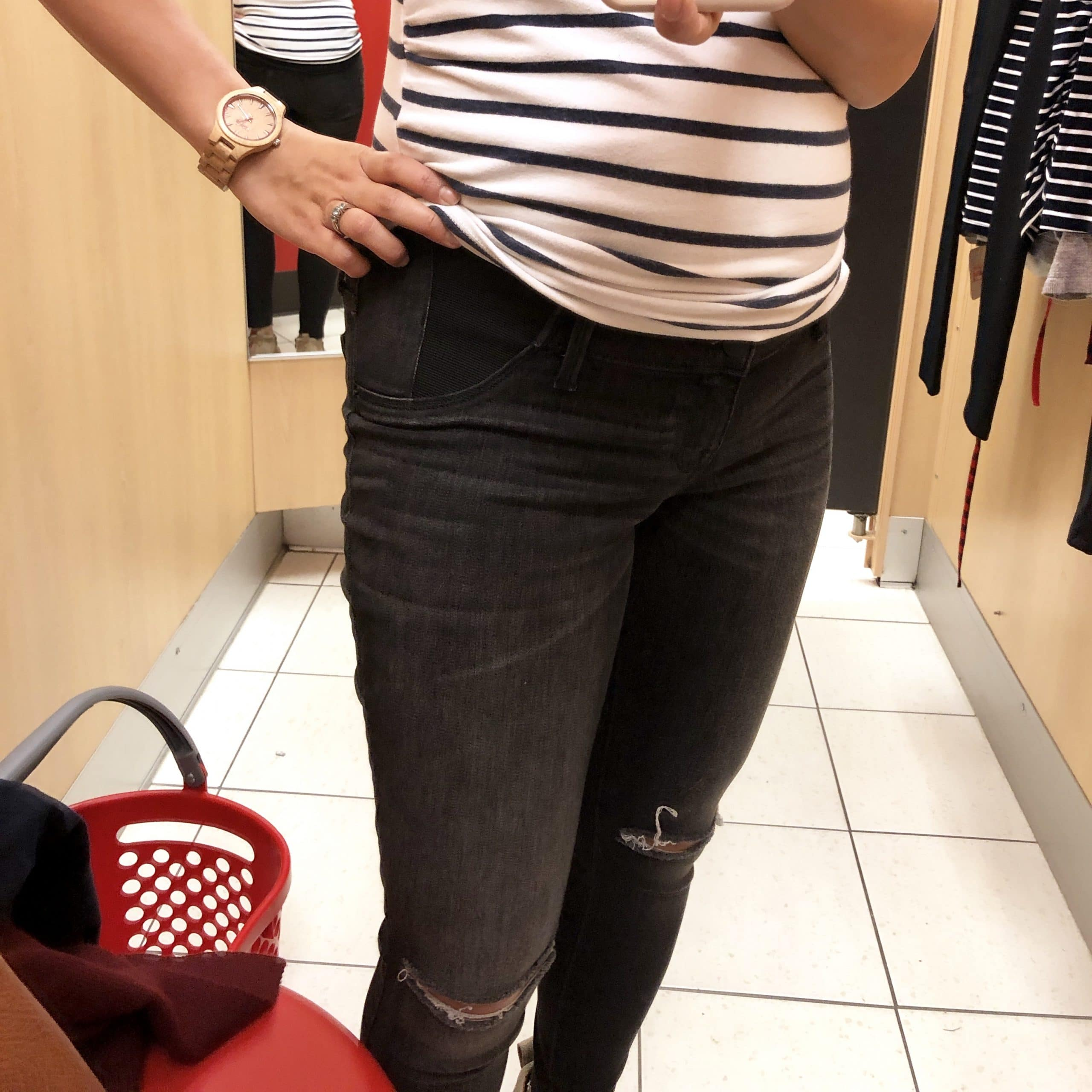 Striped t-shirt + Distressed maternity jeans