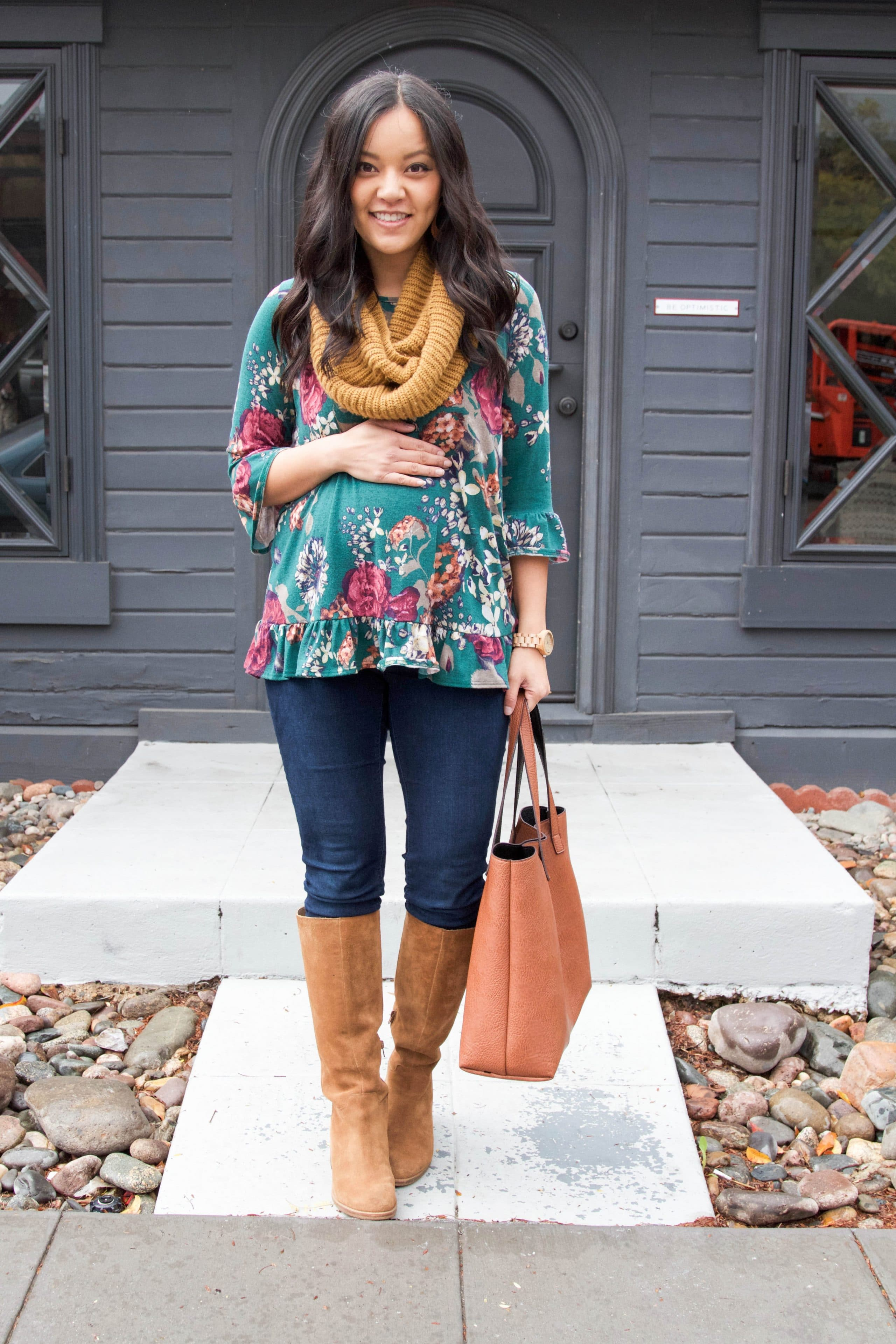 Floral Top + Infinity Scarf + Cognac Boots + Tote Bag