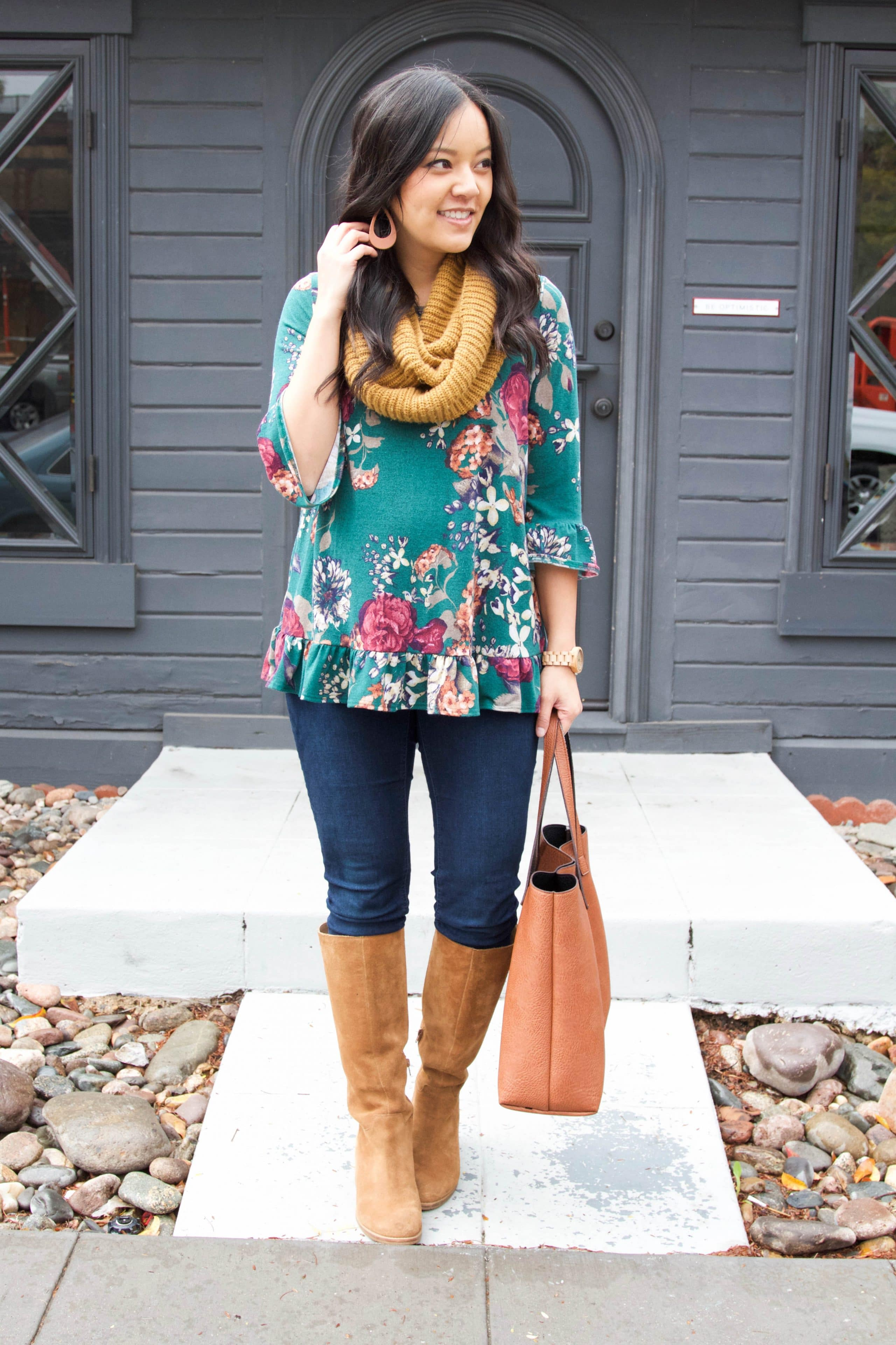 Infinity Scarf + Floral Top + Boots + Tote + Dark Skinnies
