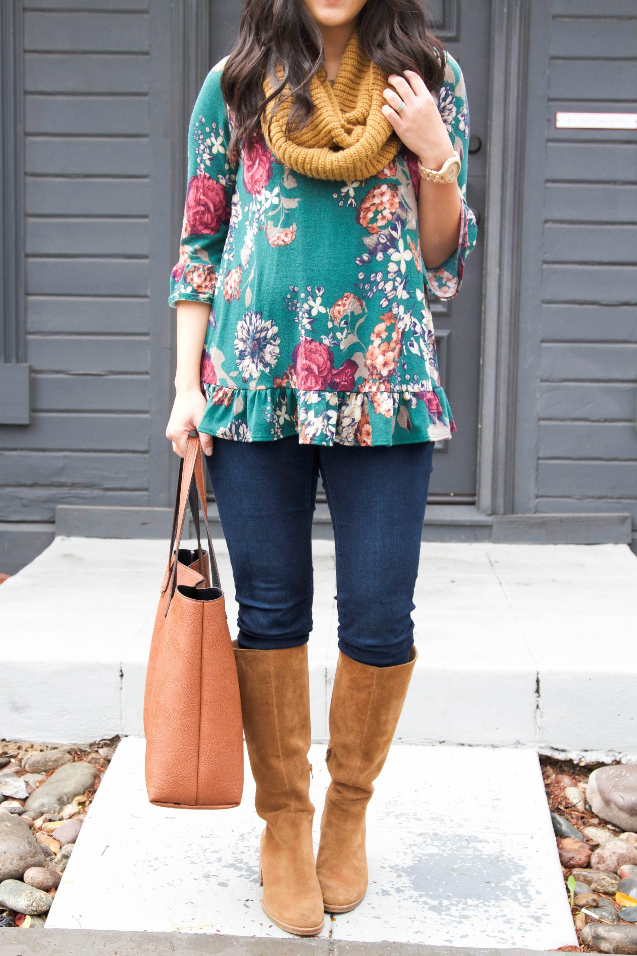 Floral Top + Infinity Scarf + Jord Watch + Suede Boots + Tote