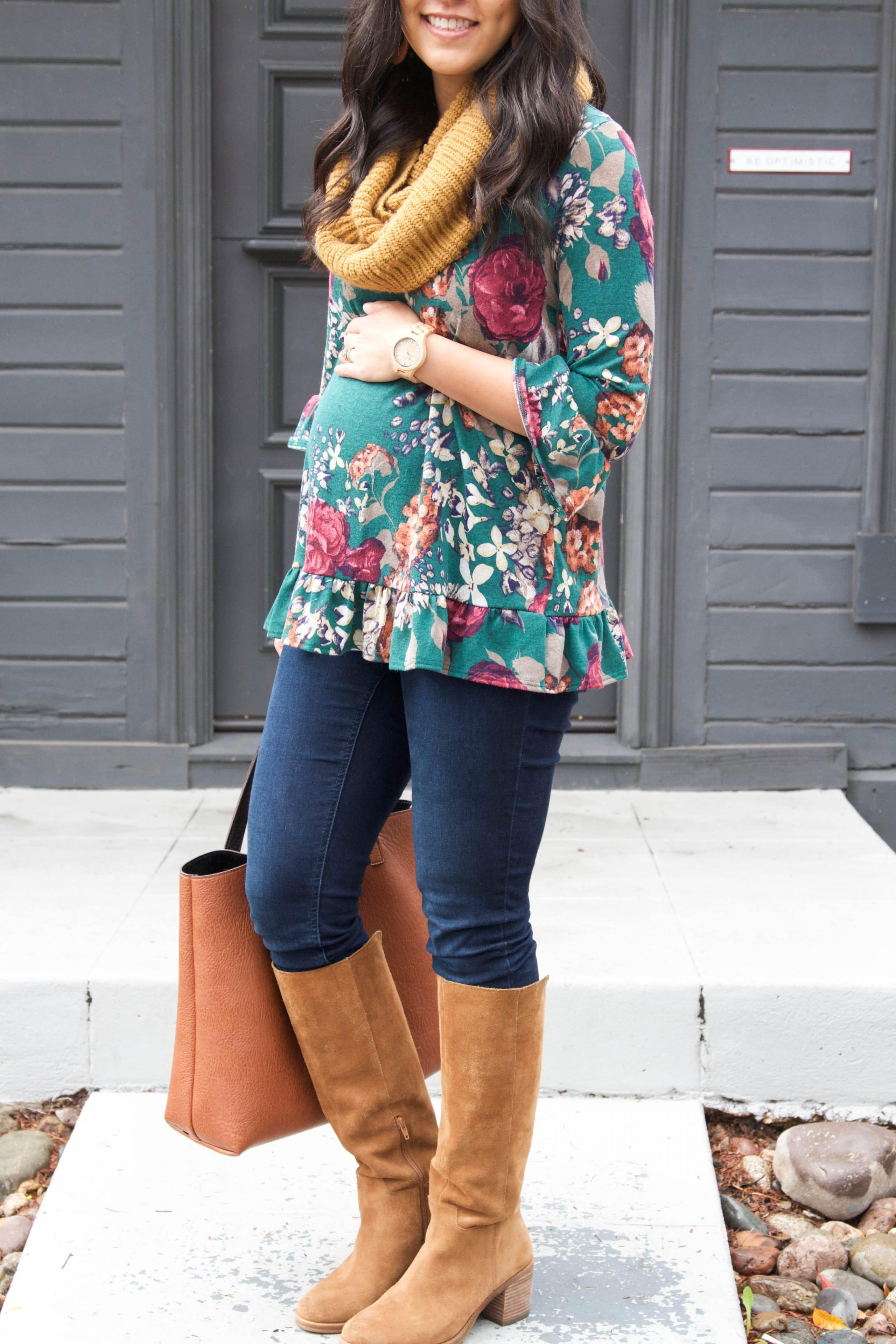 Floral Top + Cognac Bag + Boots + Skinnies + Infinity Scarf