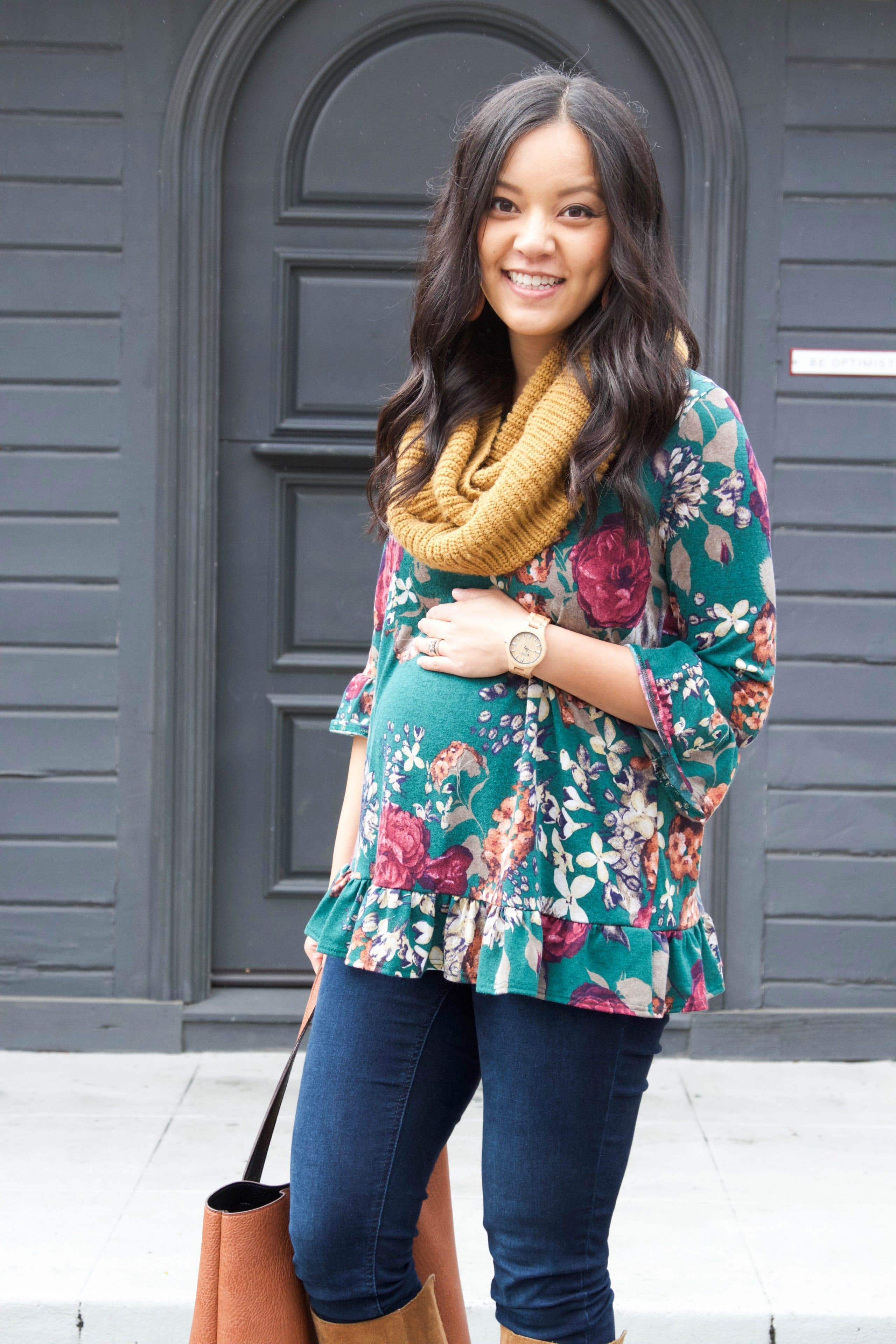 Floral Top + Skinnies + Boots + Tote + Infinity Scarf