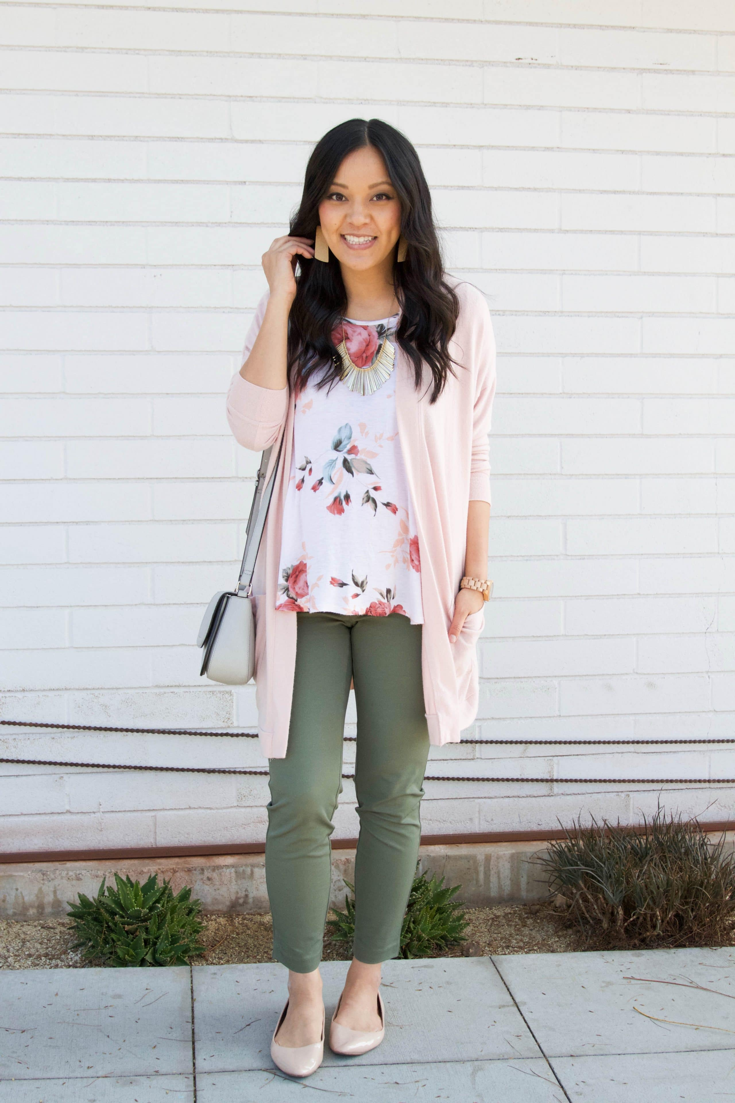 Blush Cardigan + Olive Pants + Nude Flats + Floral Top + Statement Earrings