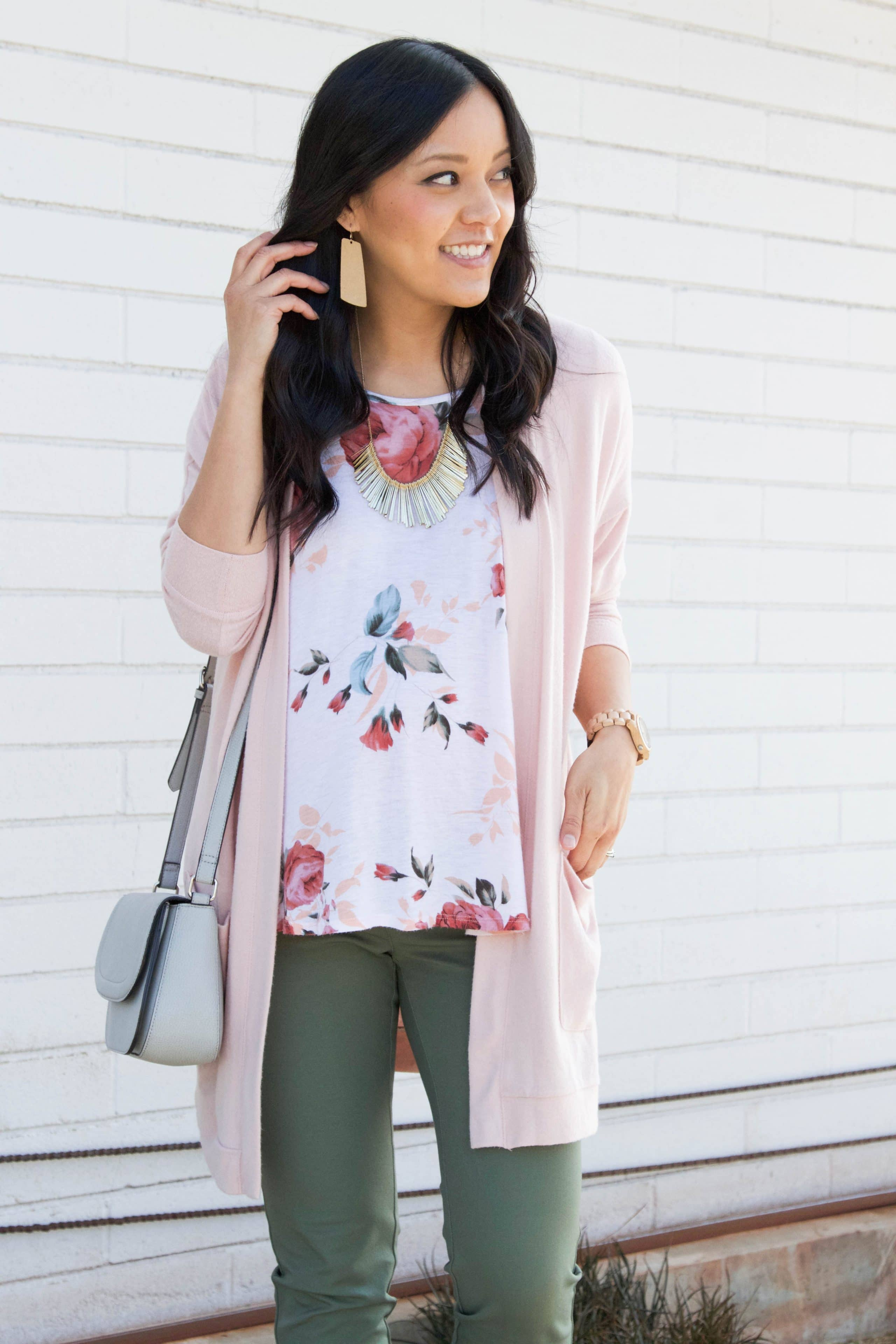 Floral Shirt + Blush Cardigan + Olive Pants + Statement Necklace