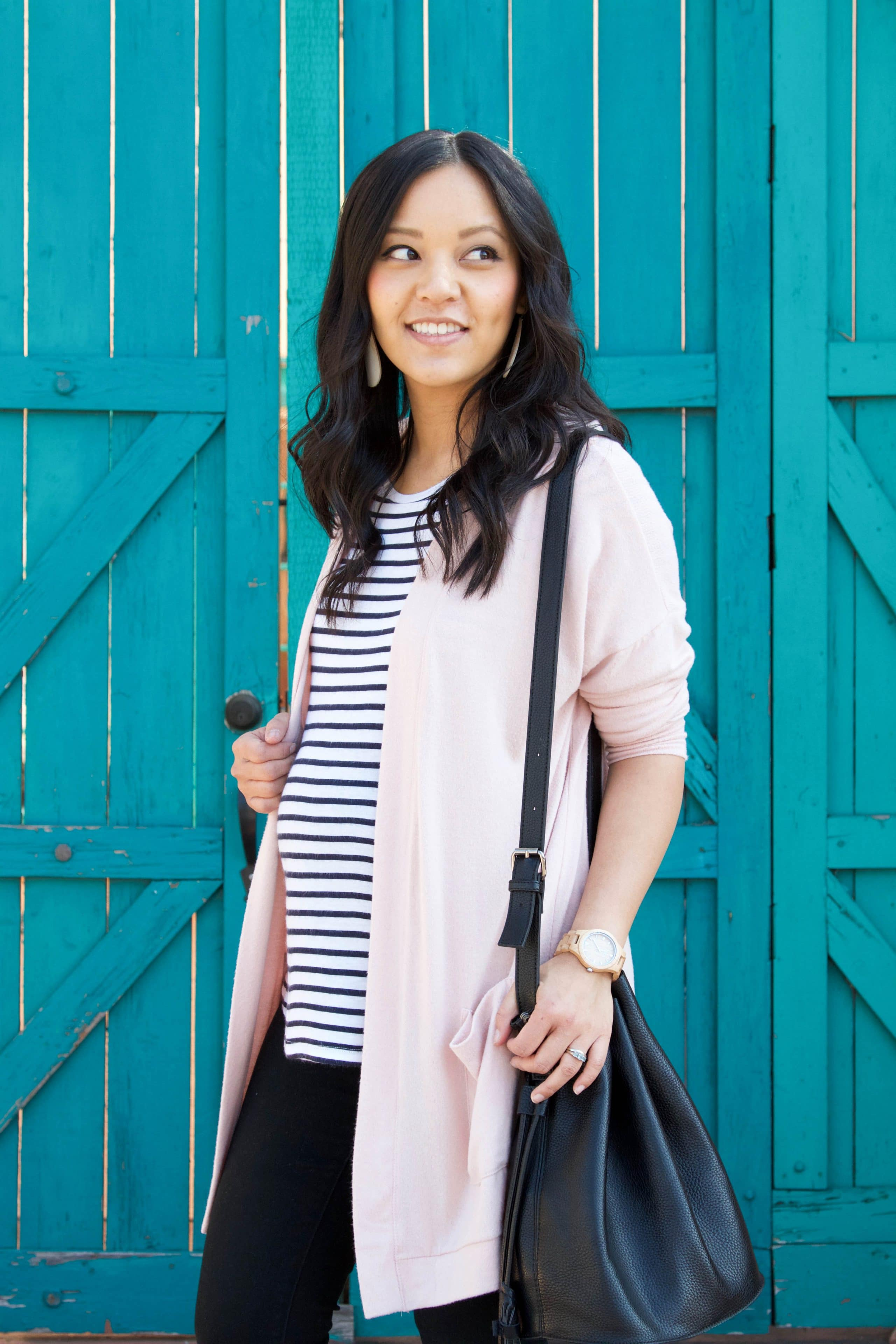 Blush Cardigan + Striped Tee + Black Pants + Black Tote