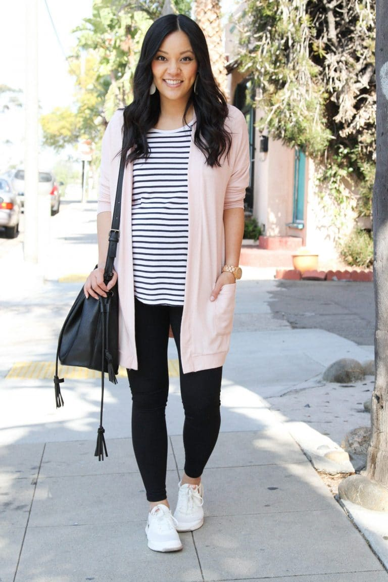 blush cardigan striped tee leggings and sneakers outfit 1