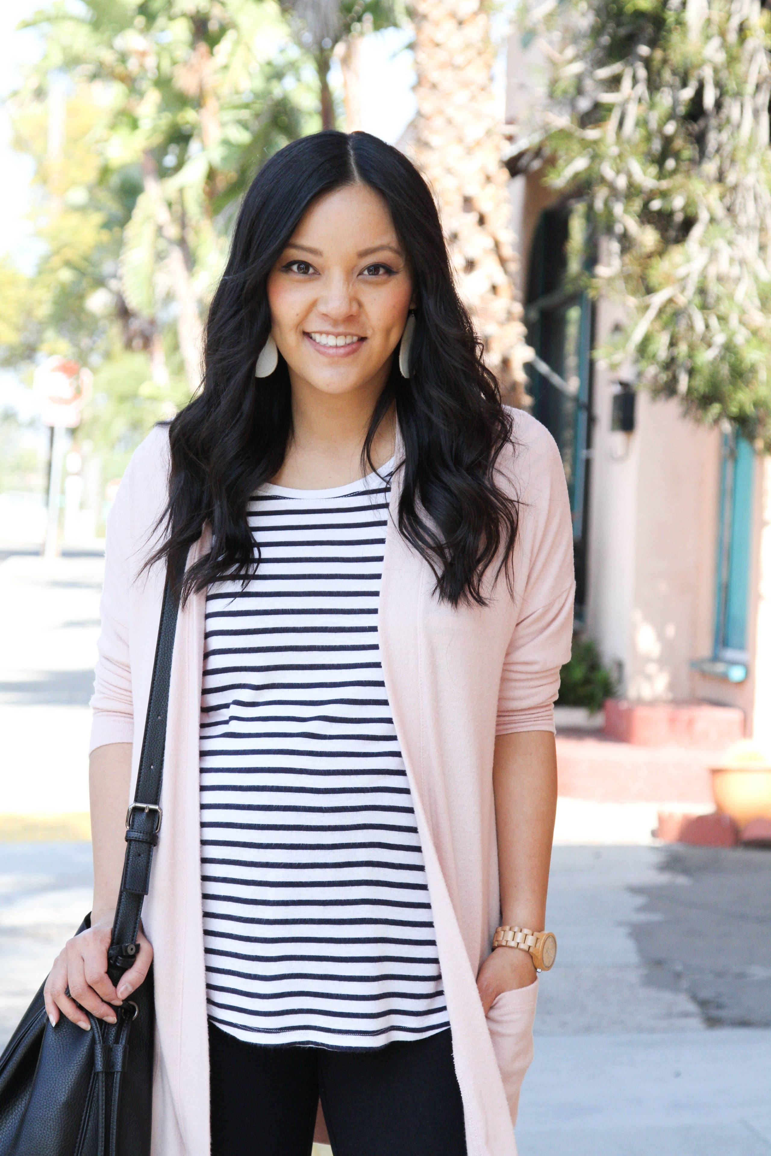 Blush Cardigan + Leggings + Striped Tee + Statement Earrings + Black Bag