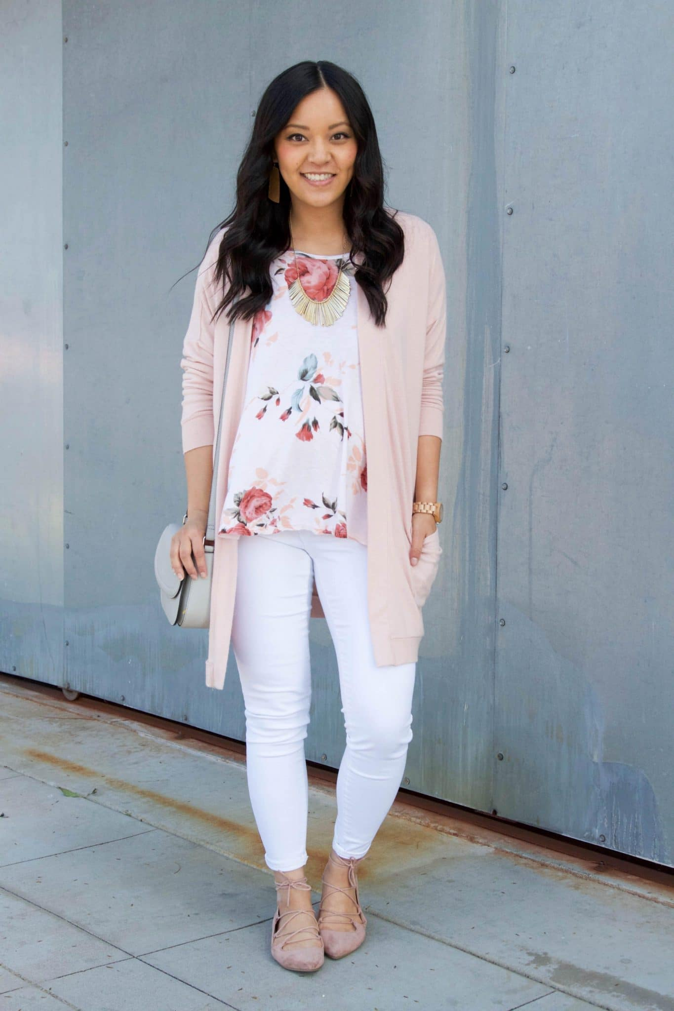 white floral top + pink cardigan + white pants + grey purse