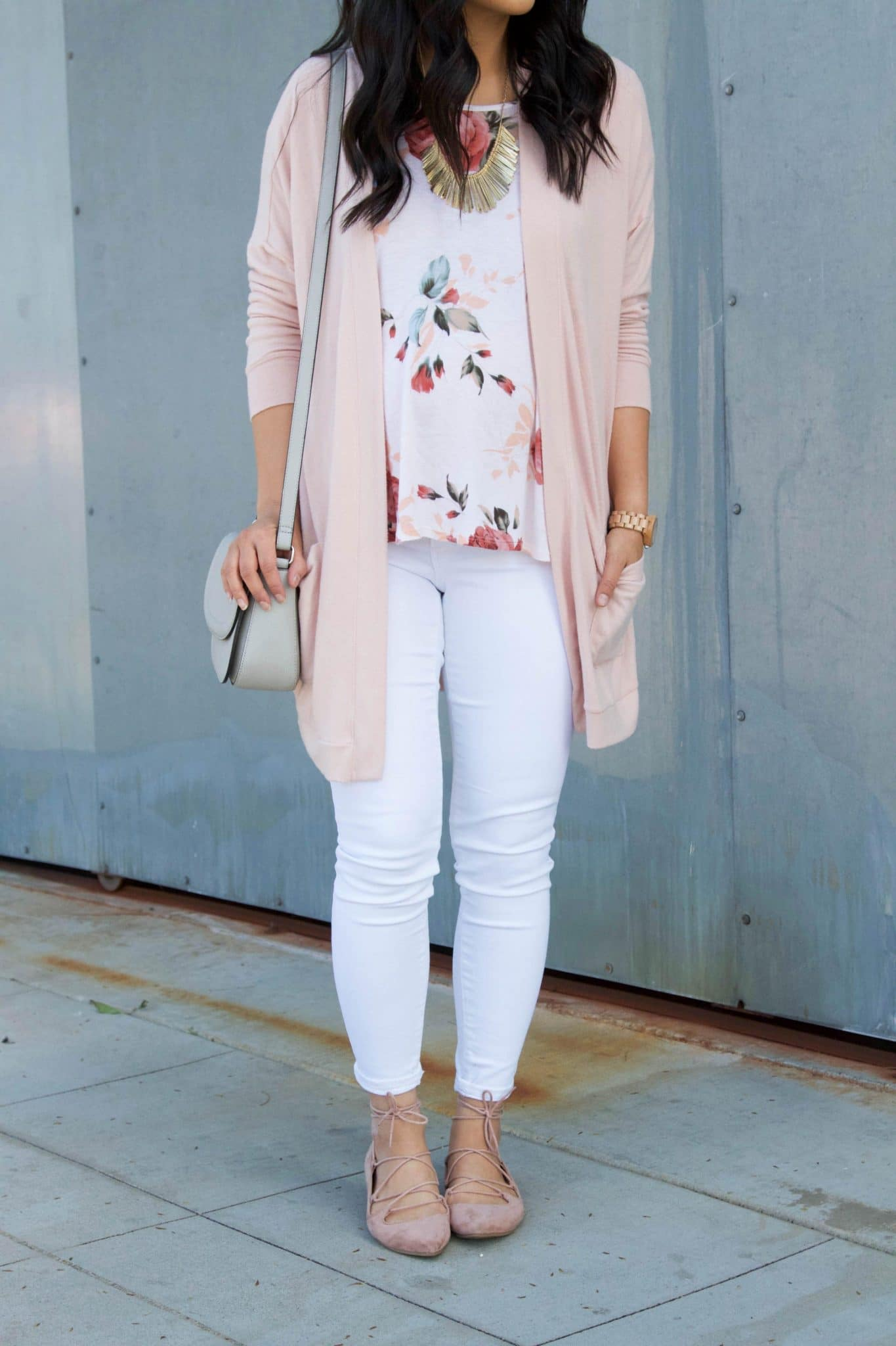 blush cardigan + blush ballet flats + white floral top + white jeans + grey purse