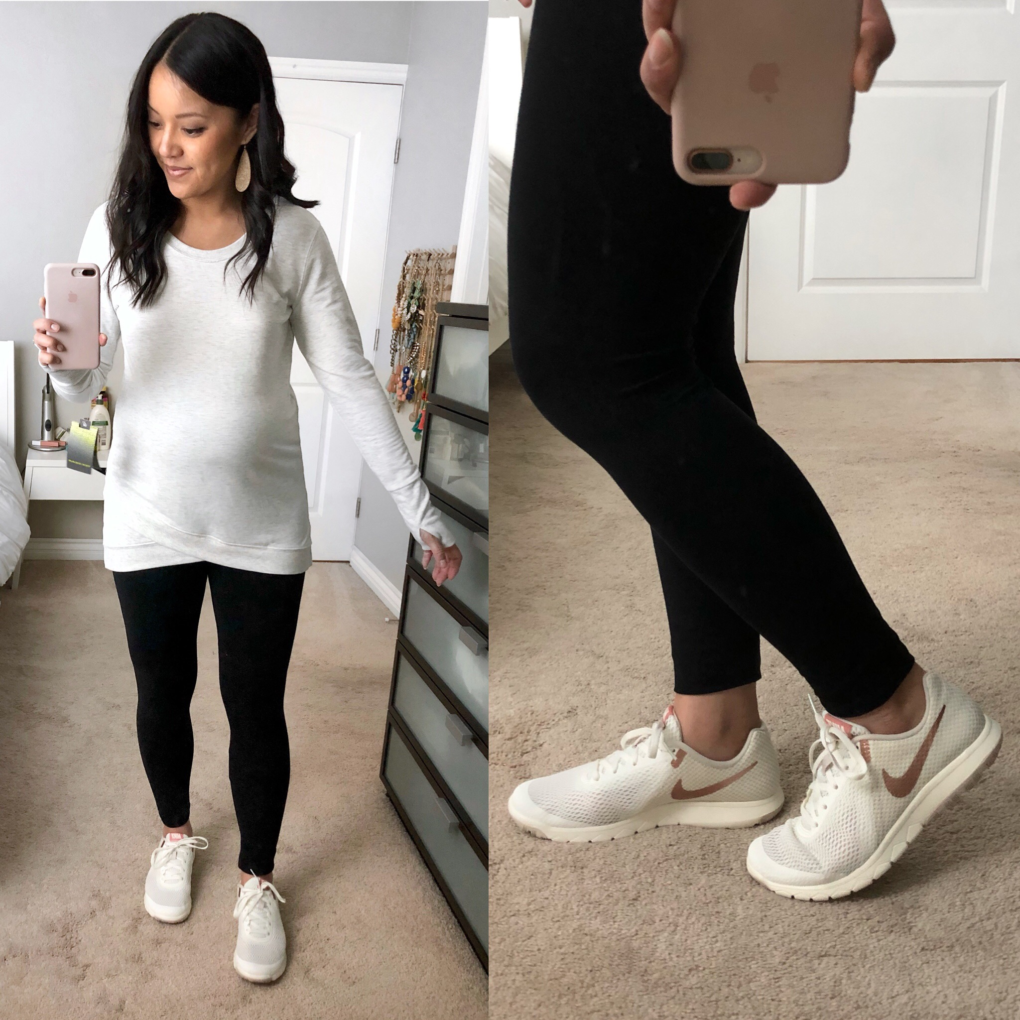 Leggings + White Sneakers + White Activewear Tunic