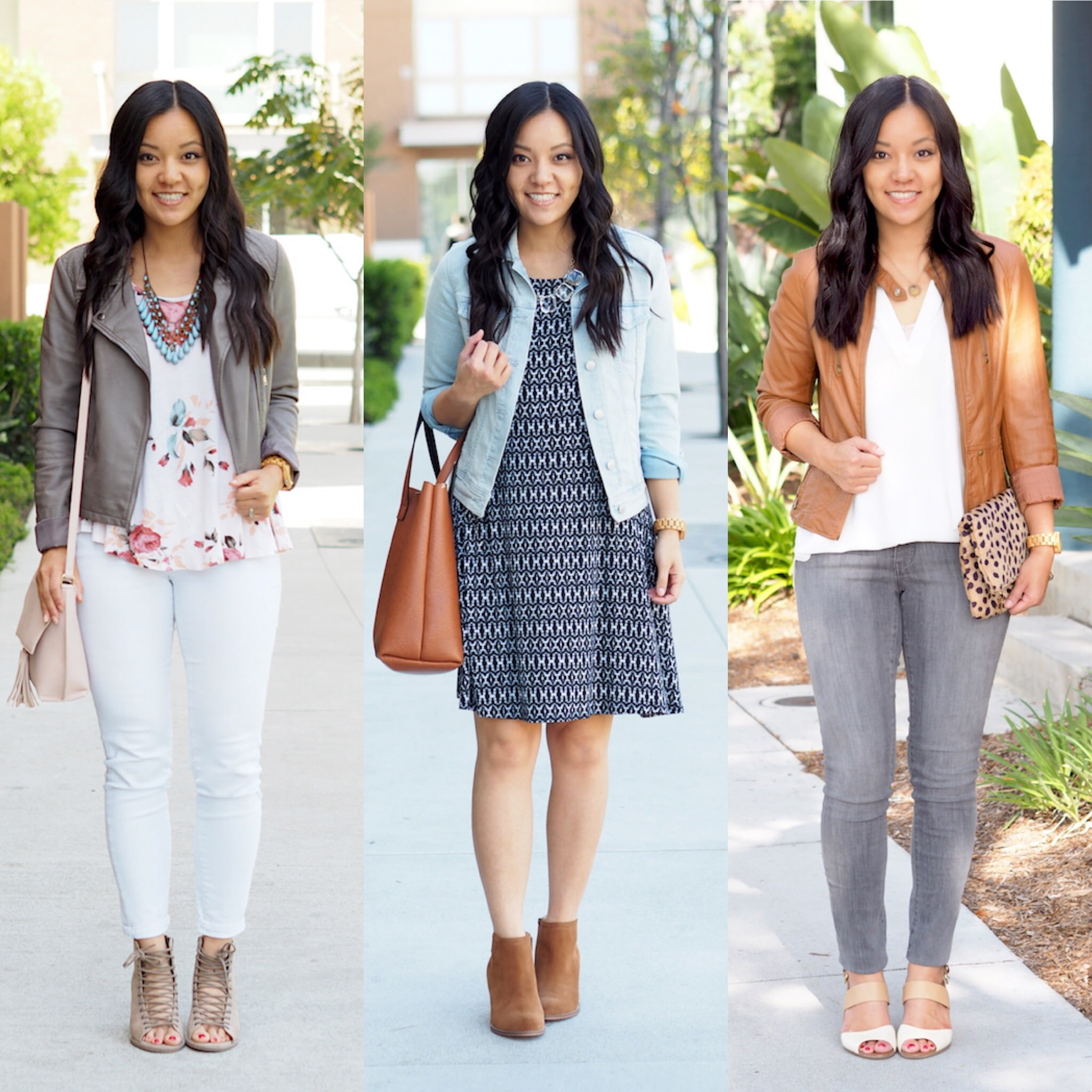 Spring Wardrobe Building Blocks for Dressy Casual Style: Faux Leather Moto Jackets and Denim Jacket