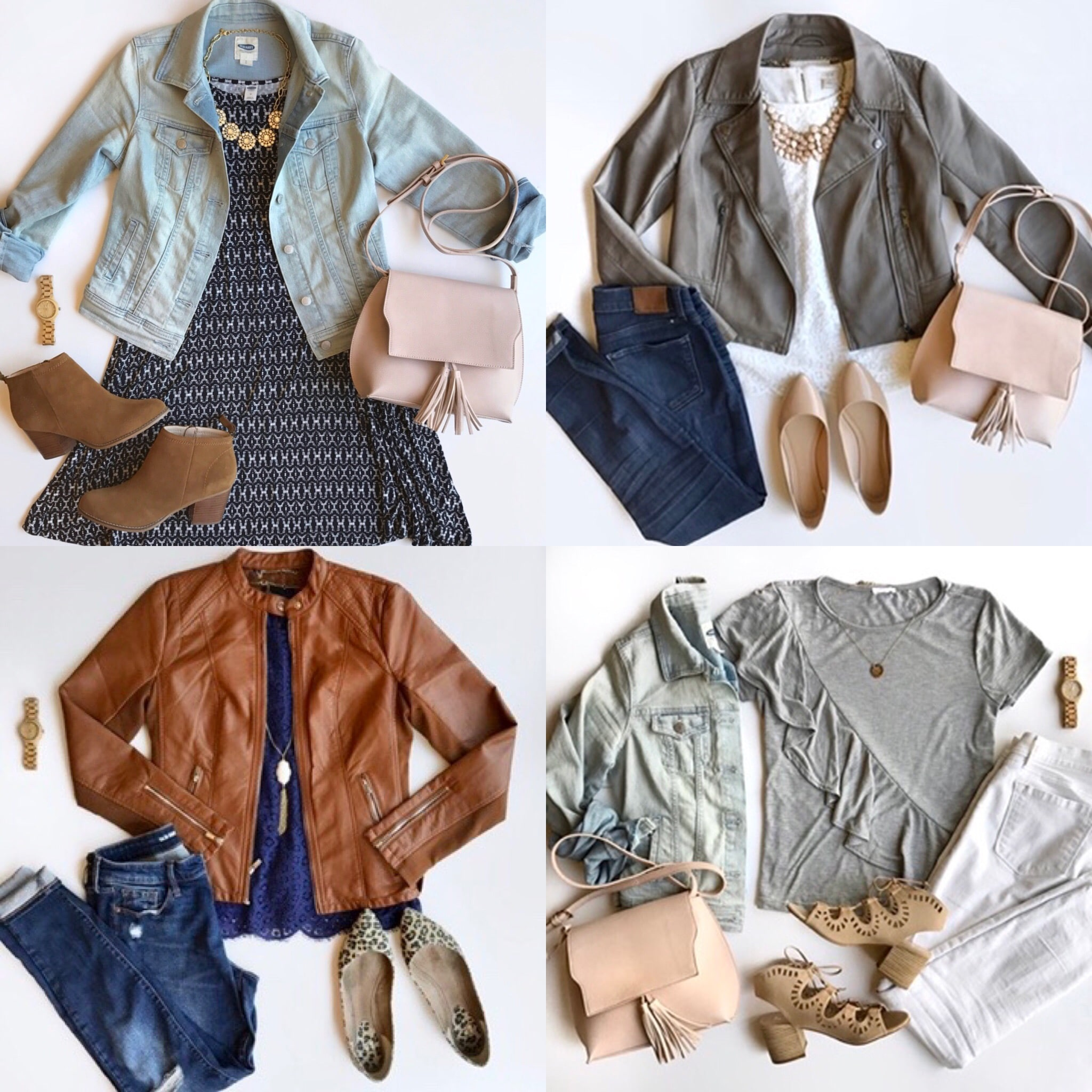 Spring Wardrobe Building Blocks for Dressy Casual Outfits - Denim Jacket and Faux Leather Moto Jackets
