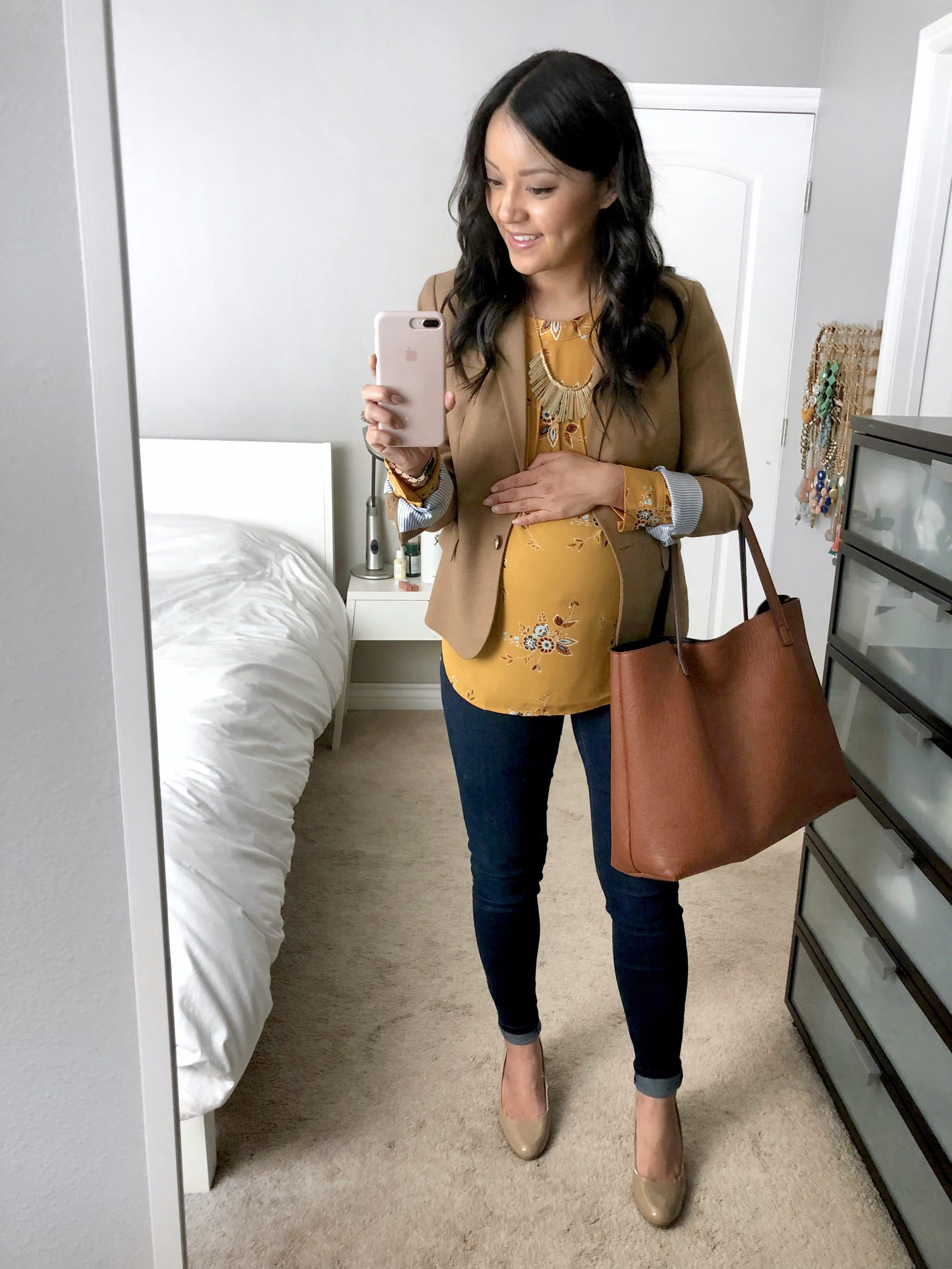Camel Blazer + Yellow Blouse + skinnies + cognac tote + Nude pumps