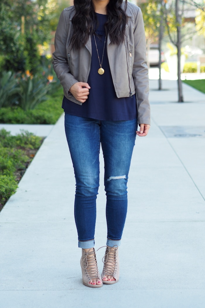 Moto Jacket + Distressed Skinnies + Gold Necklace + Navy Top