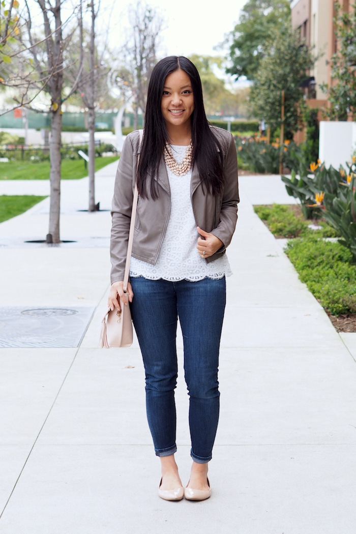 Lace Top + Skinnies + Statement Necklace + Moto Jacket